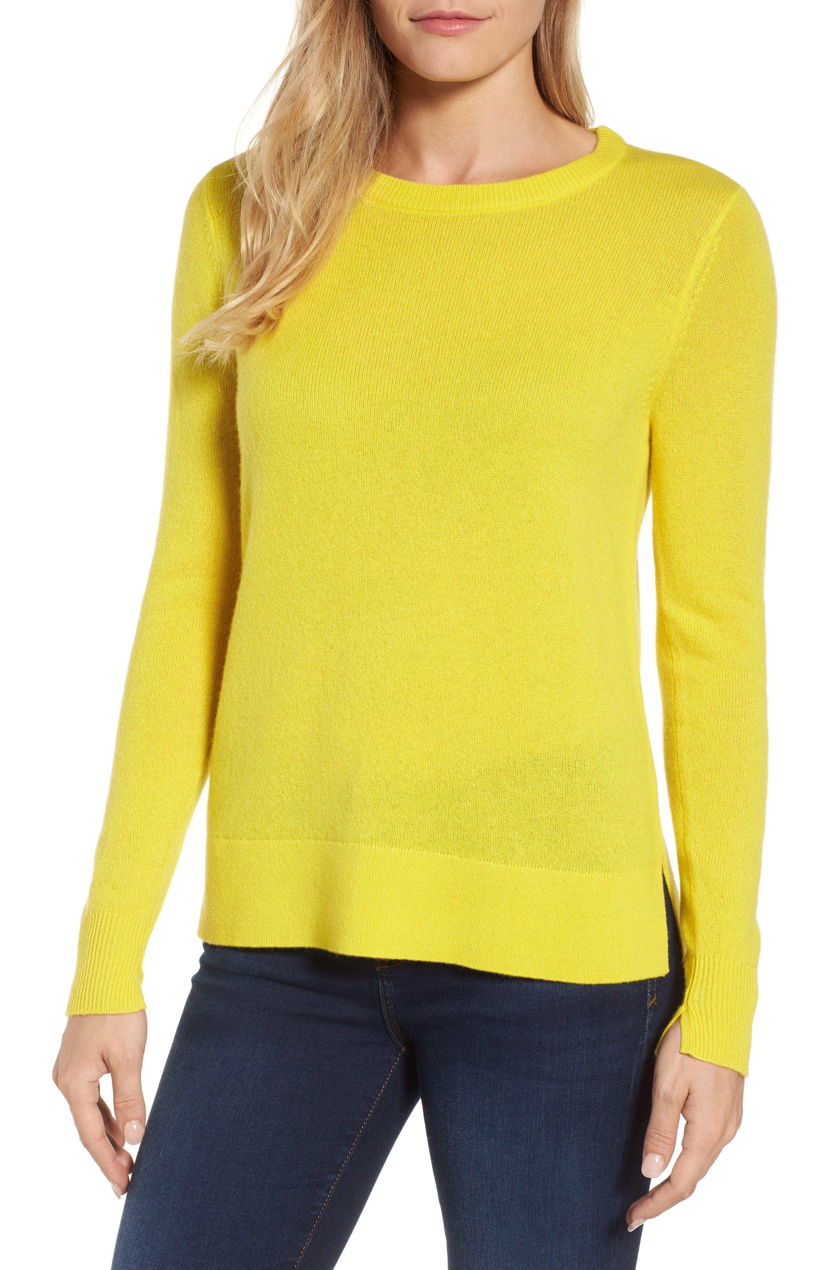 Crewneck Cashmere Sweater,                             Main thumbnail 1, color,                             Blazing Buttercup