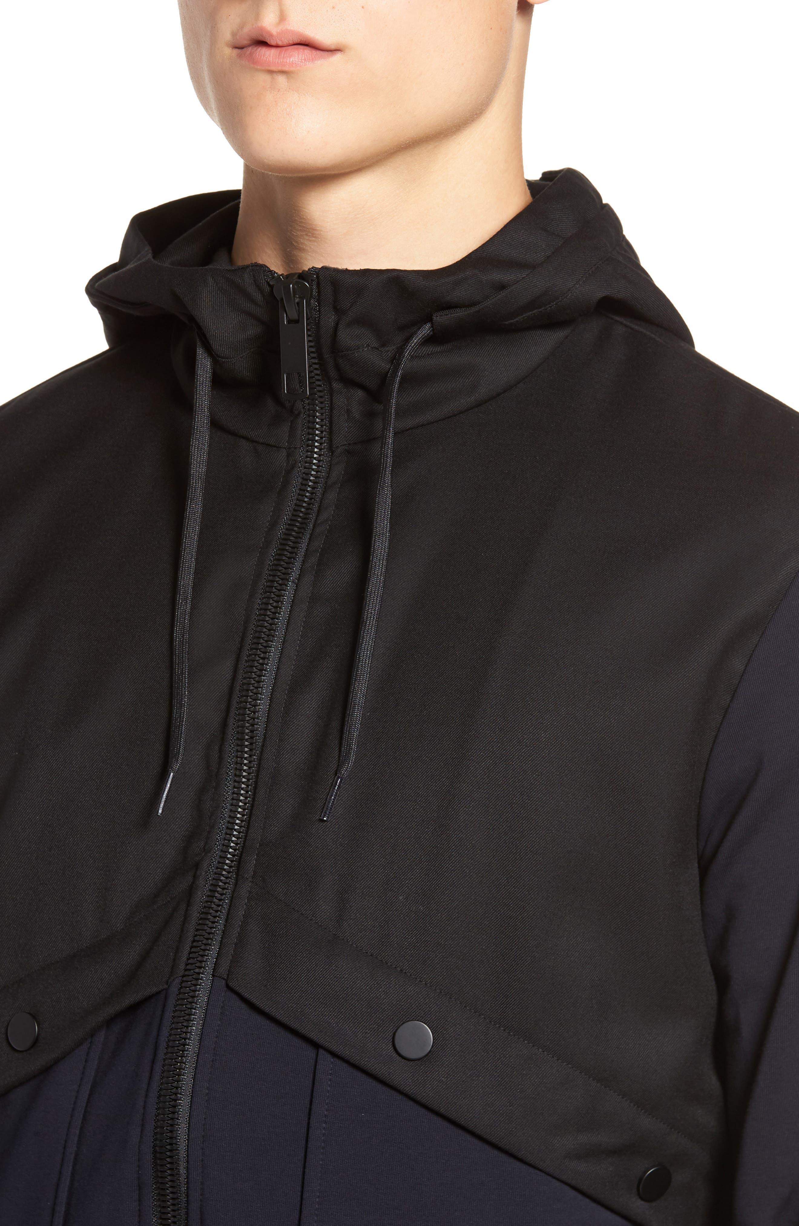 Fleece Zip Up Jacket,                             Alternate thumbnail 4, color,                             Black