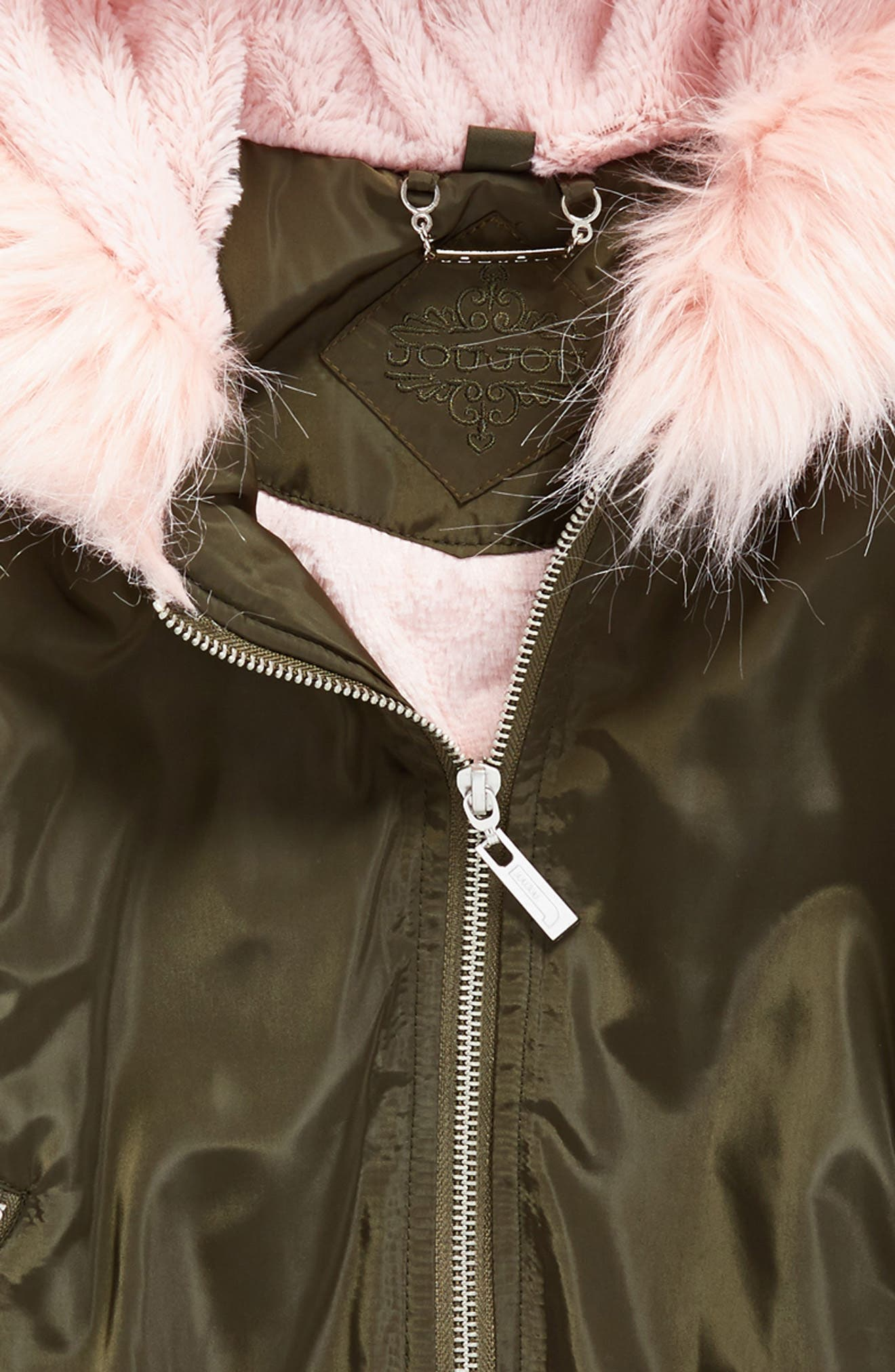 Hooded Bomber Jacket with Faux Fur Trim,                             Alternate thumbnail 2, color,                             Olive/ Pink