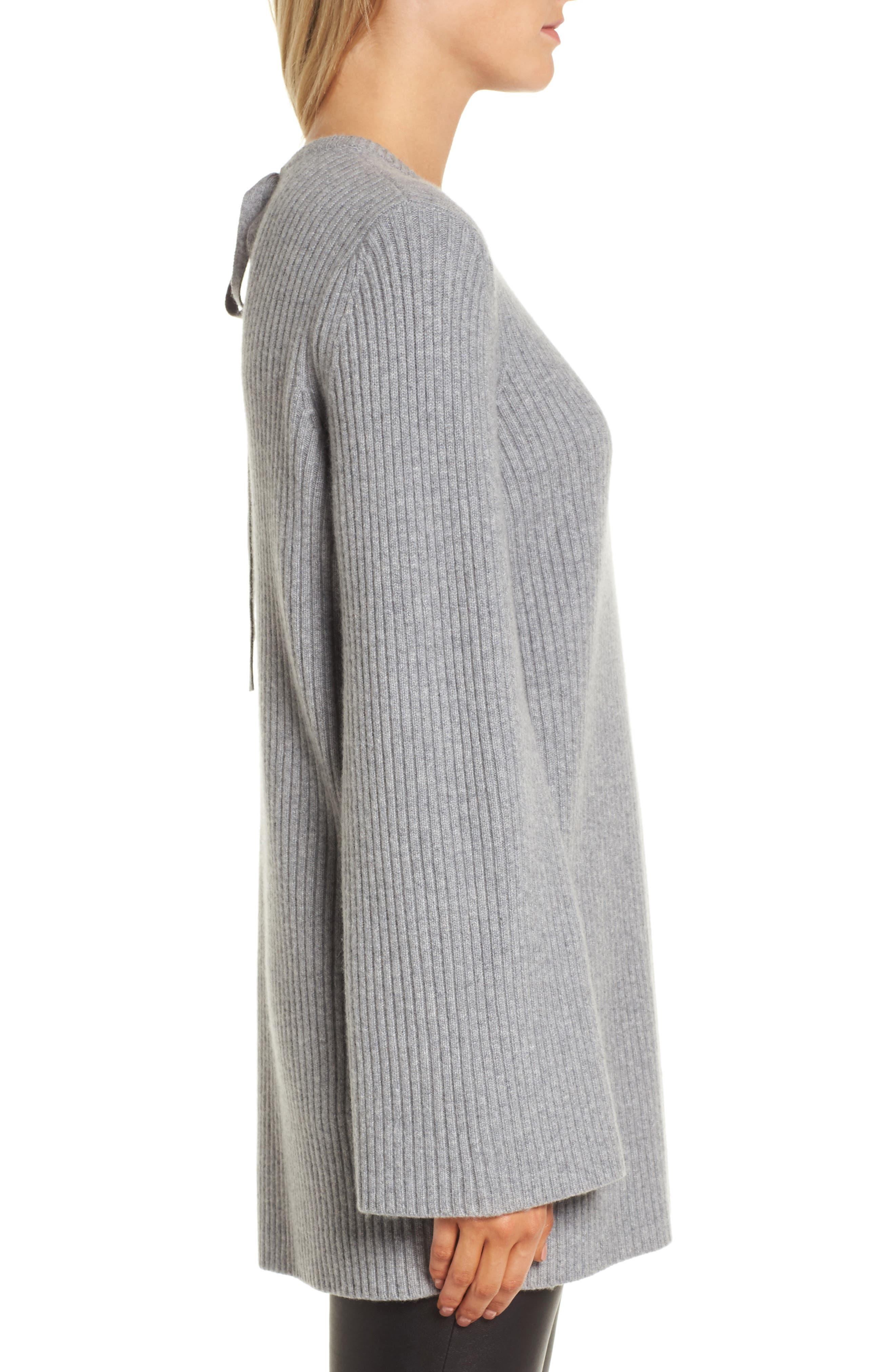 Tie Back Cashmere Blend Sweater,                             Alternate thumbnail 3, color,                             Grey Filigree Heather