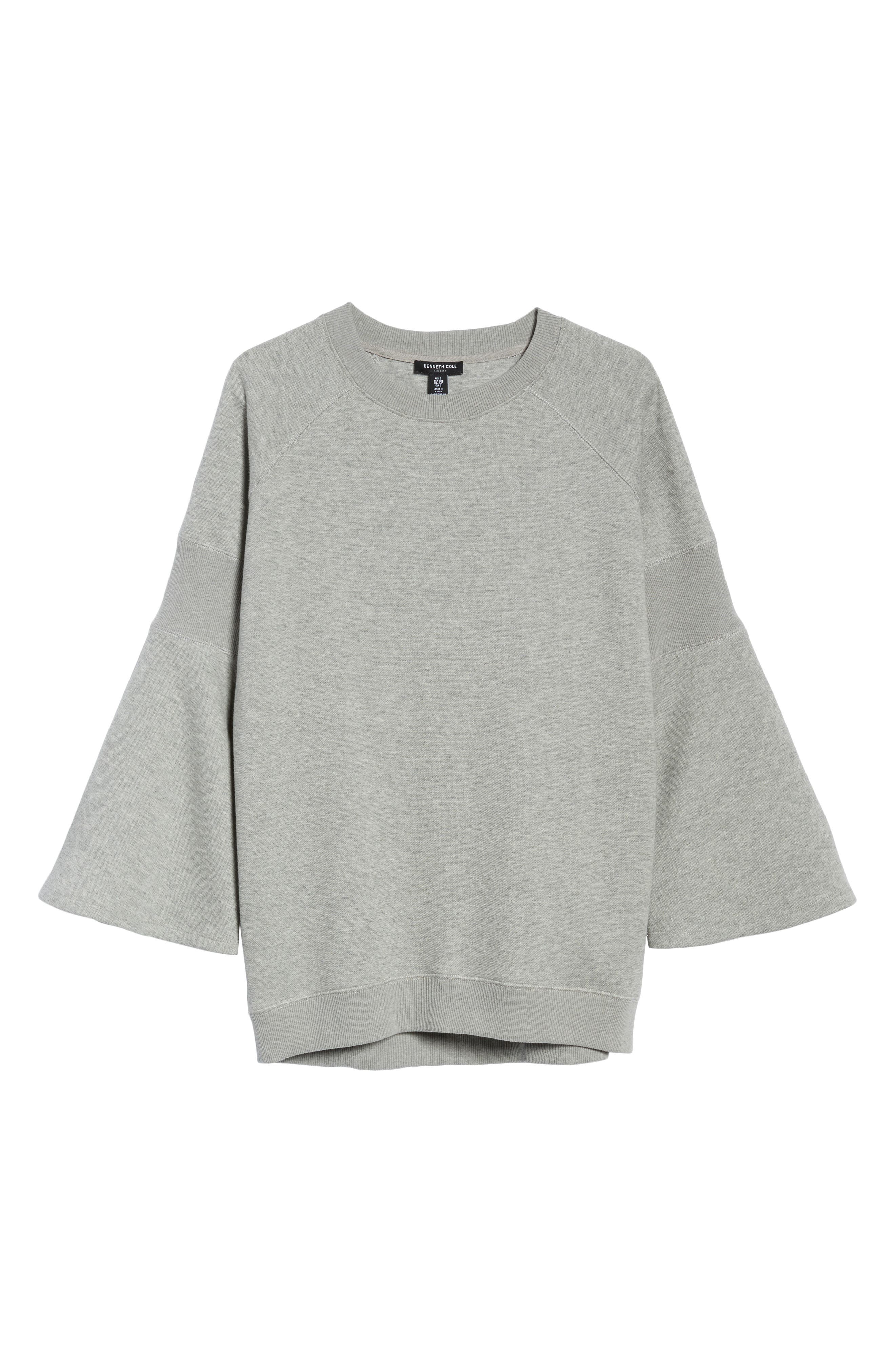Bell Sleeve Ribbed Sweatshirt,                             Alternate thumbnail 6, color,                             Heather Gray Bros