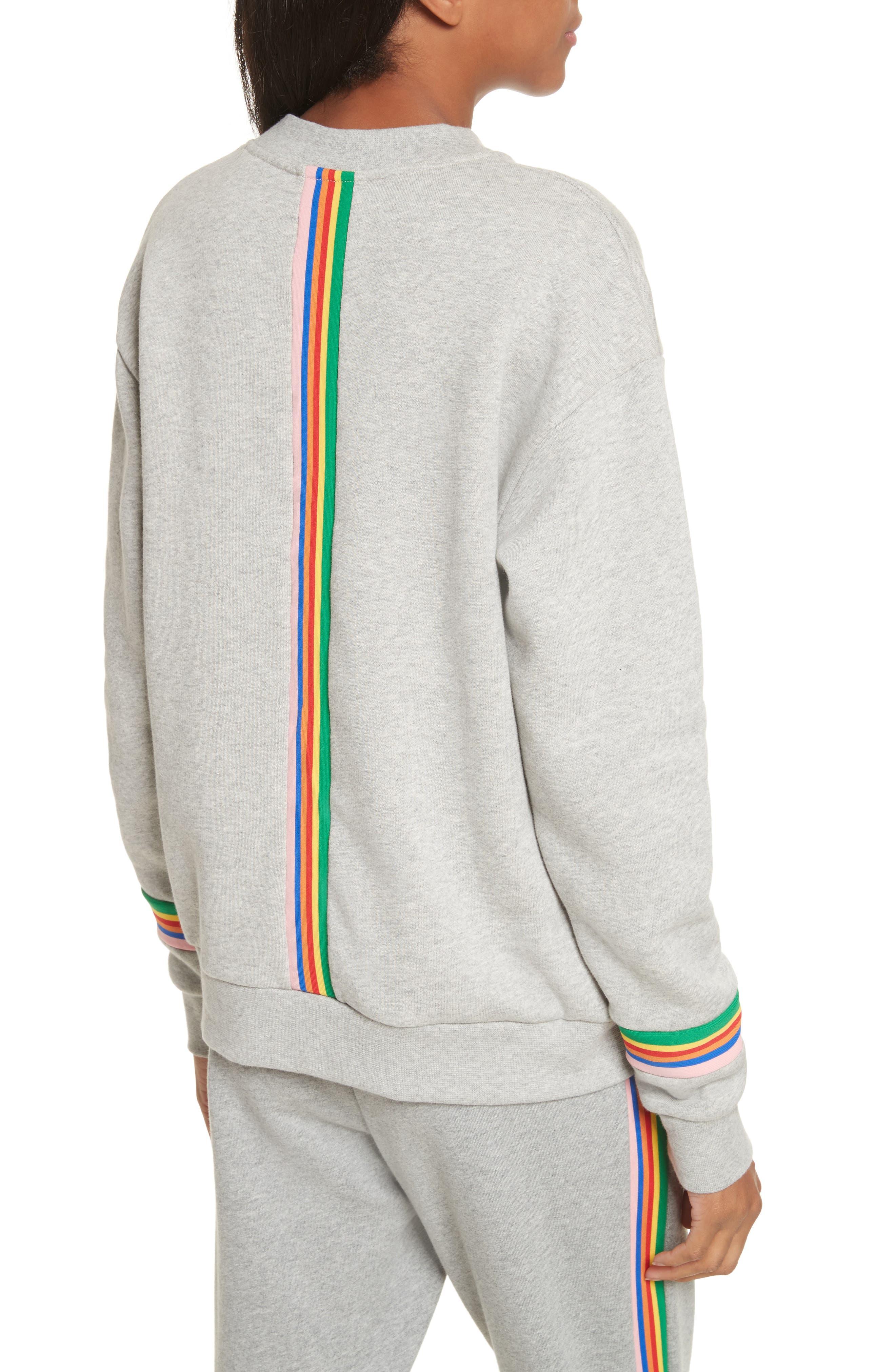 être cécile Rainbow Cotton Boyfriend Sweatshirt,                             Alternate thumbnail 3, color,                             Grey Marl