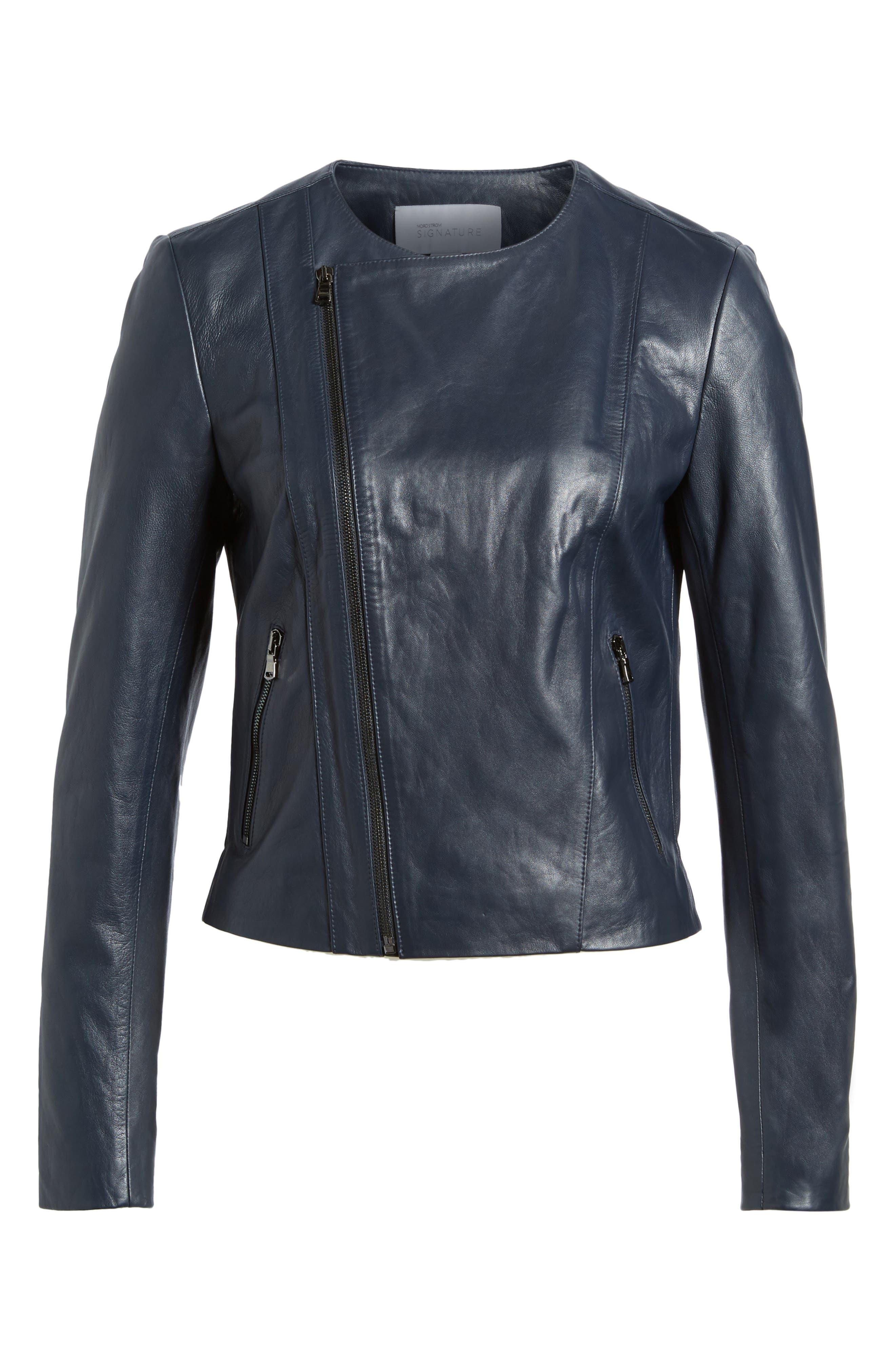 Ruffle Back Leather Jacket,                             Alternate thumbnail 6, color,                             Navy Night
