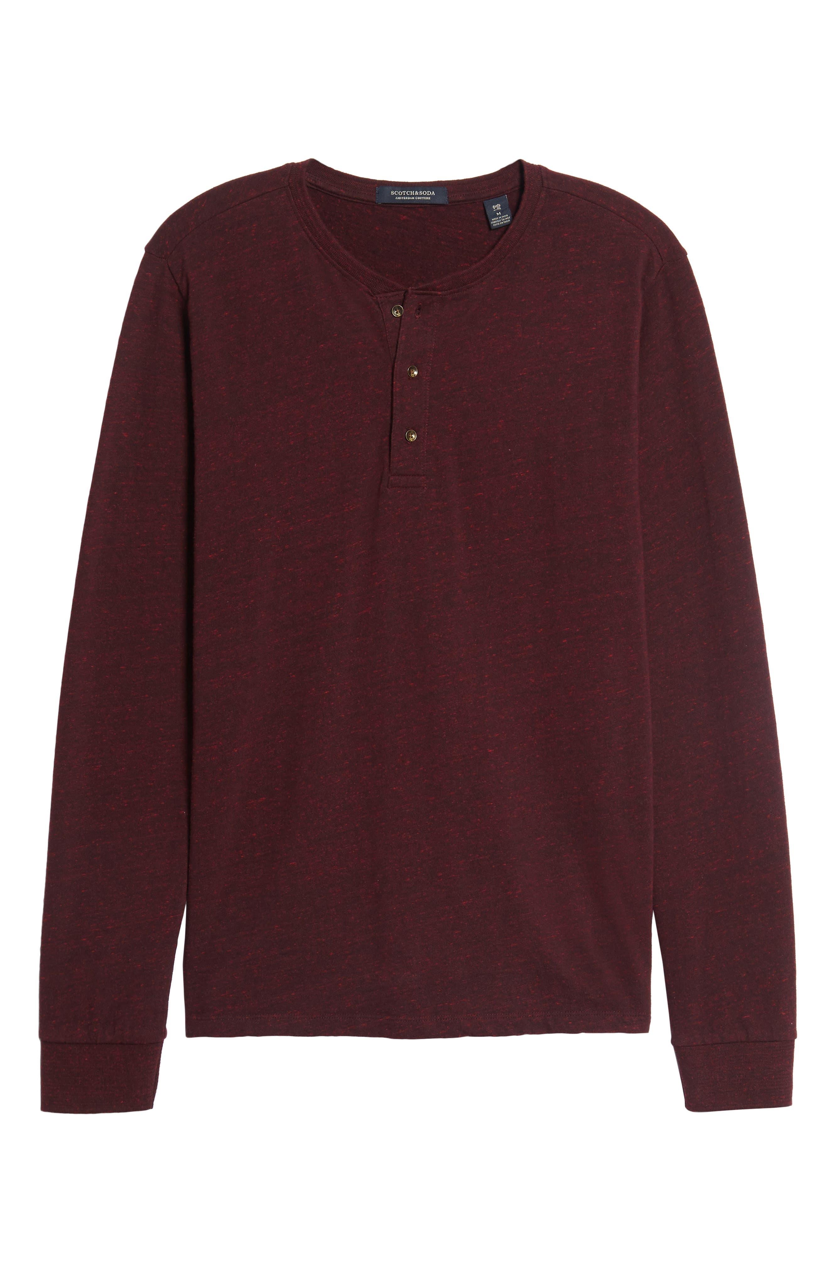 Grandad Henley T-Shirt,                             Alternate thumbnail 6, color,                             Oxblood Melange
