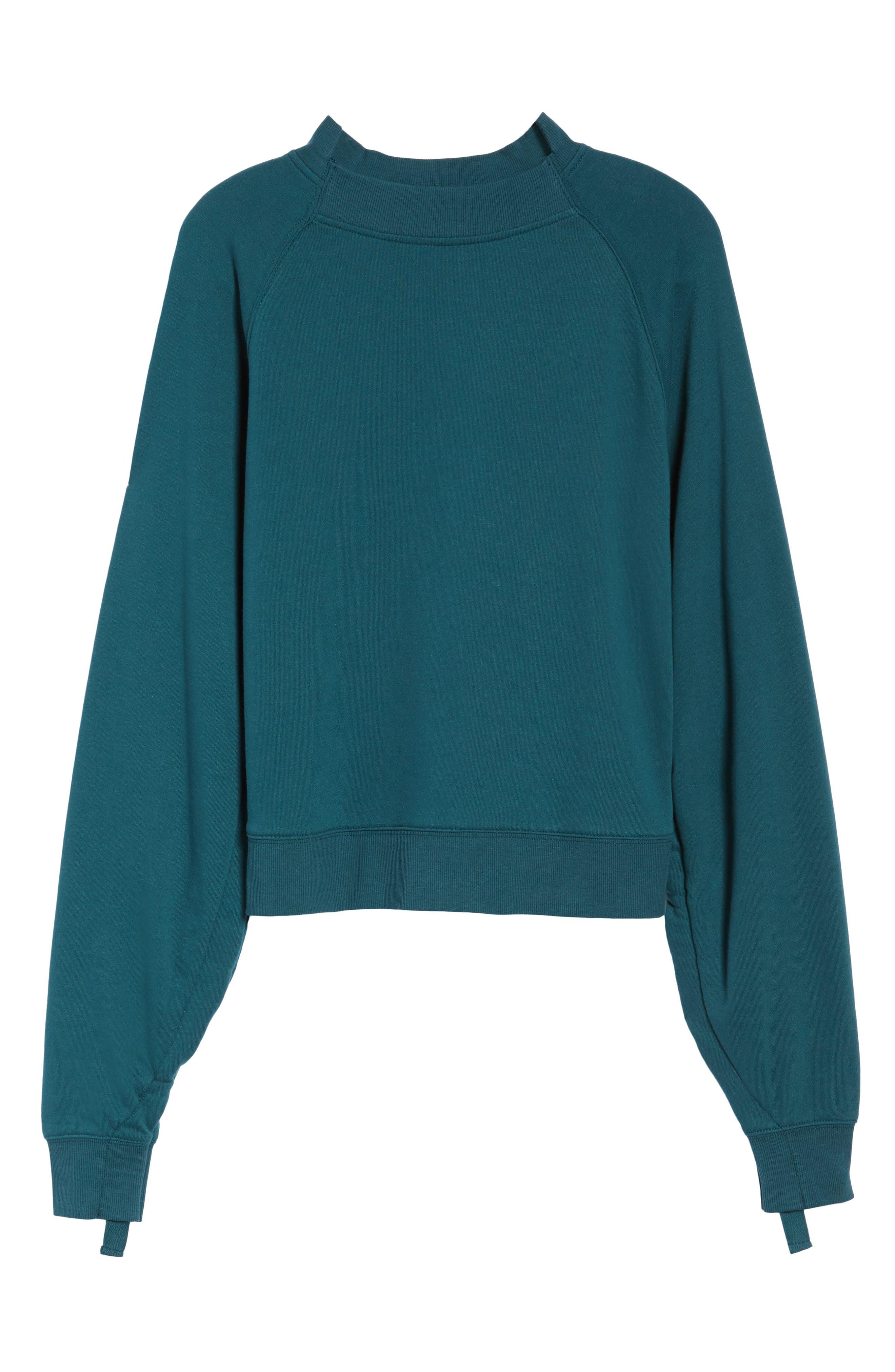 Cinched Sleeve Sweatshirt,                             Alternate thumbnail 6, color,                             Teal