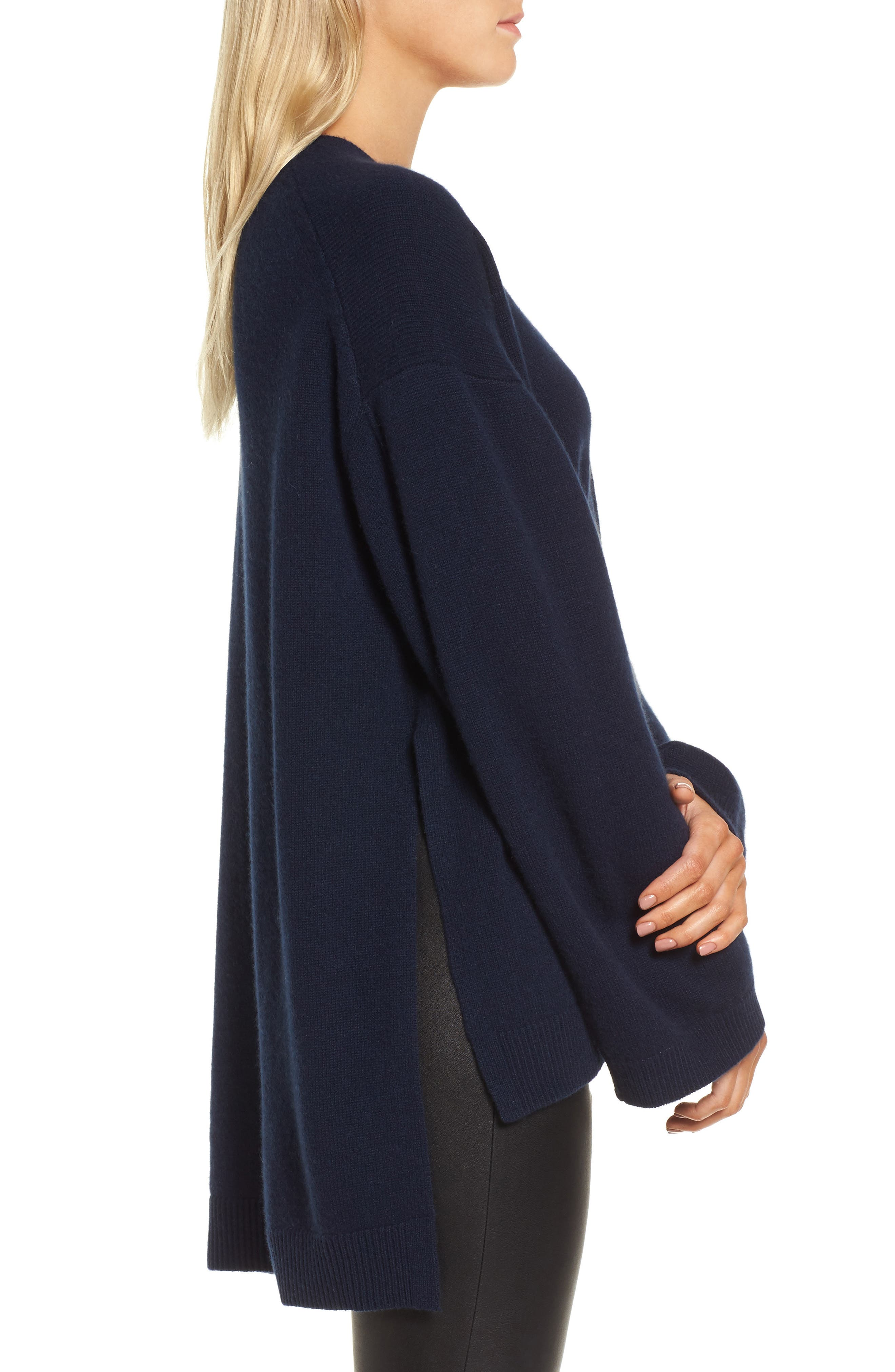 Cashmere High/Low Tunic Sweater,                             Alternate thumbnail 3, color,                             Navy Medieval