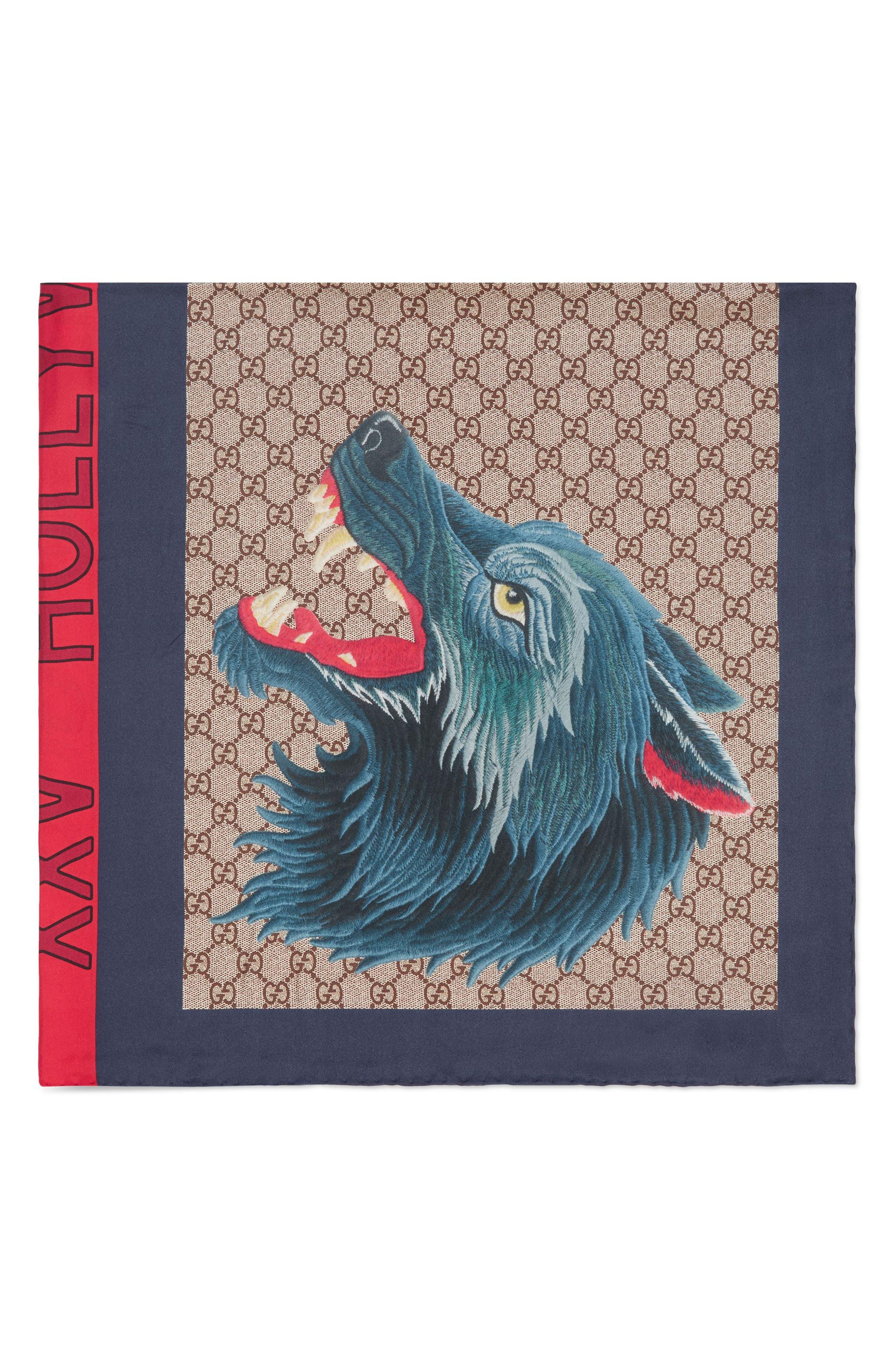 Foulard Web Wolf Silk Scarf,                         Main,                         color, 4174 Navy Red