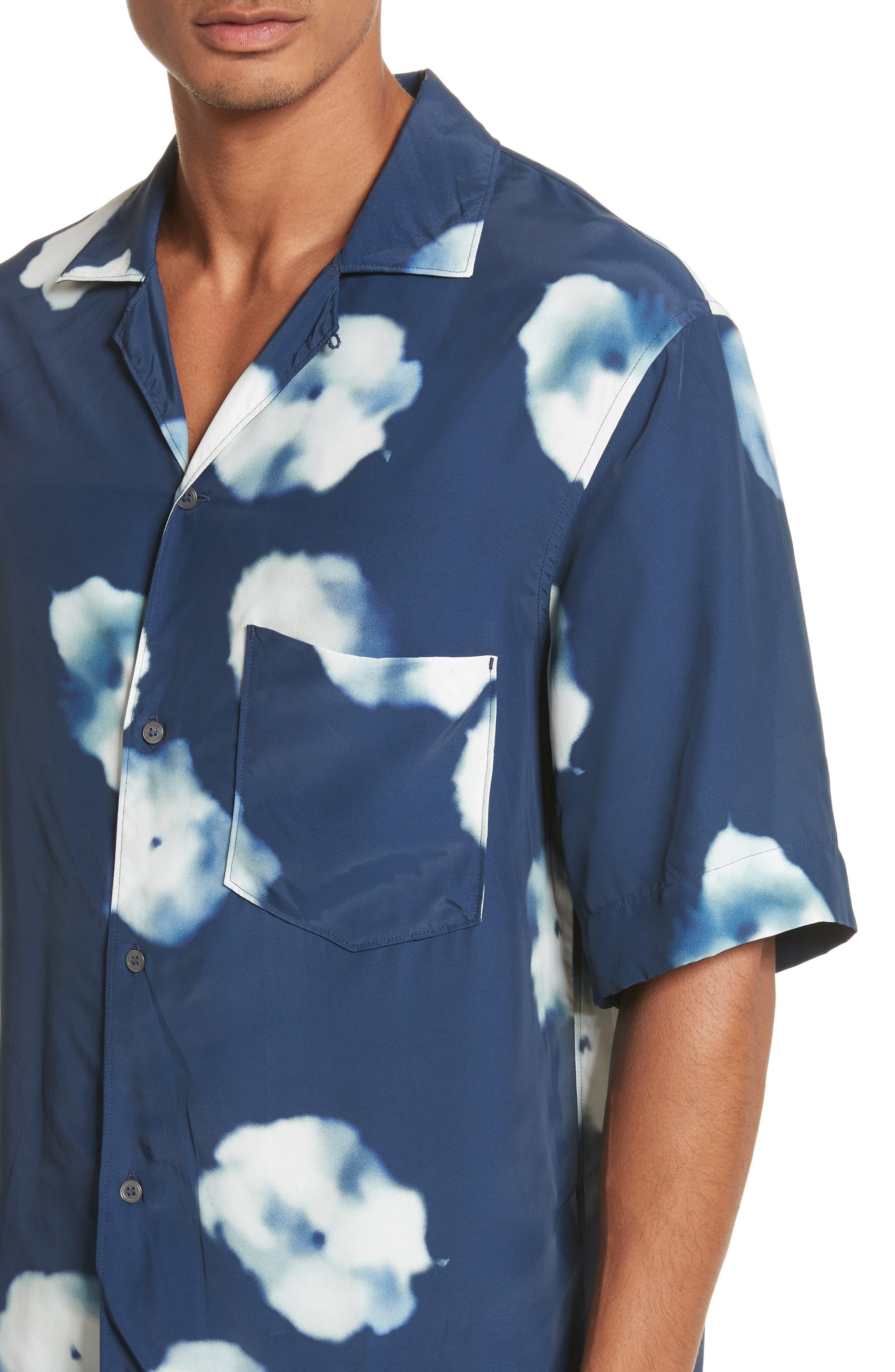 Elms Flower Print Shirt,                             Alternate thumbnail 2, color,                             Indigo Blue