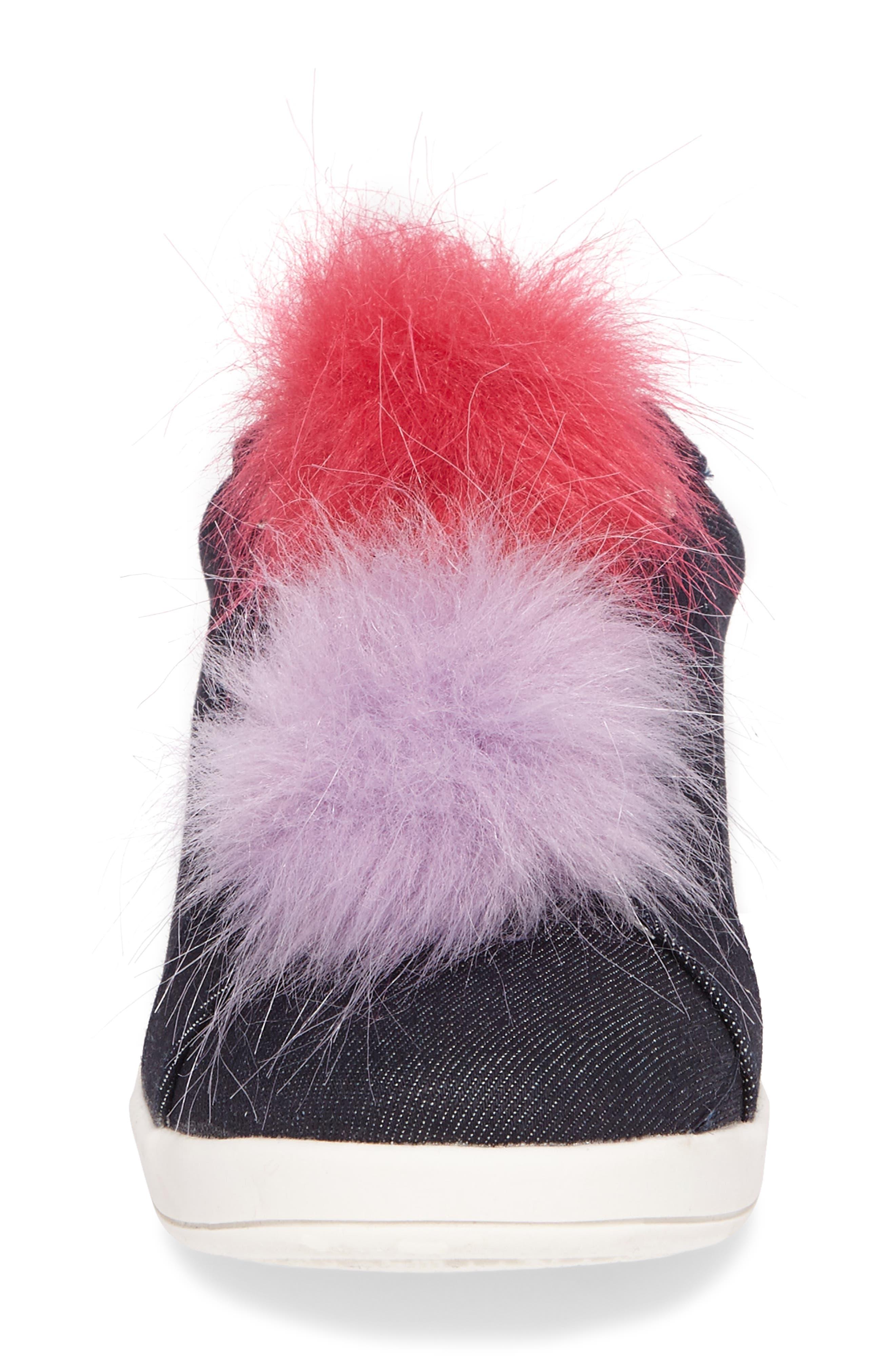 Cynthia Leya Faux Fur Pompom Slip-On Sneaker,                             Alternate thumbnail 4, color,                             Denim