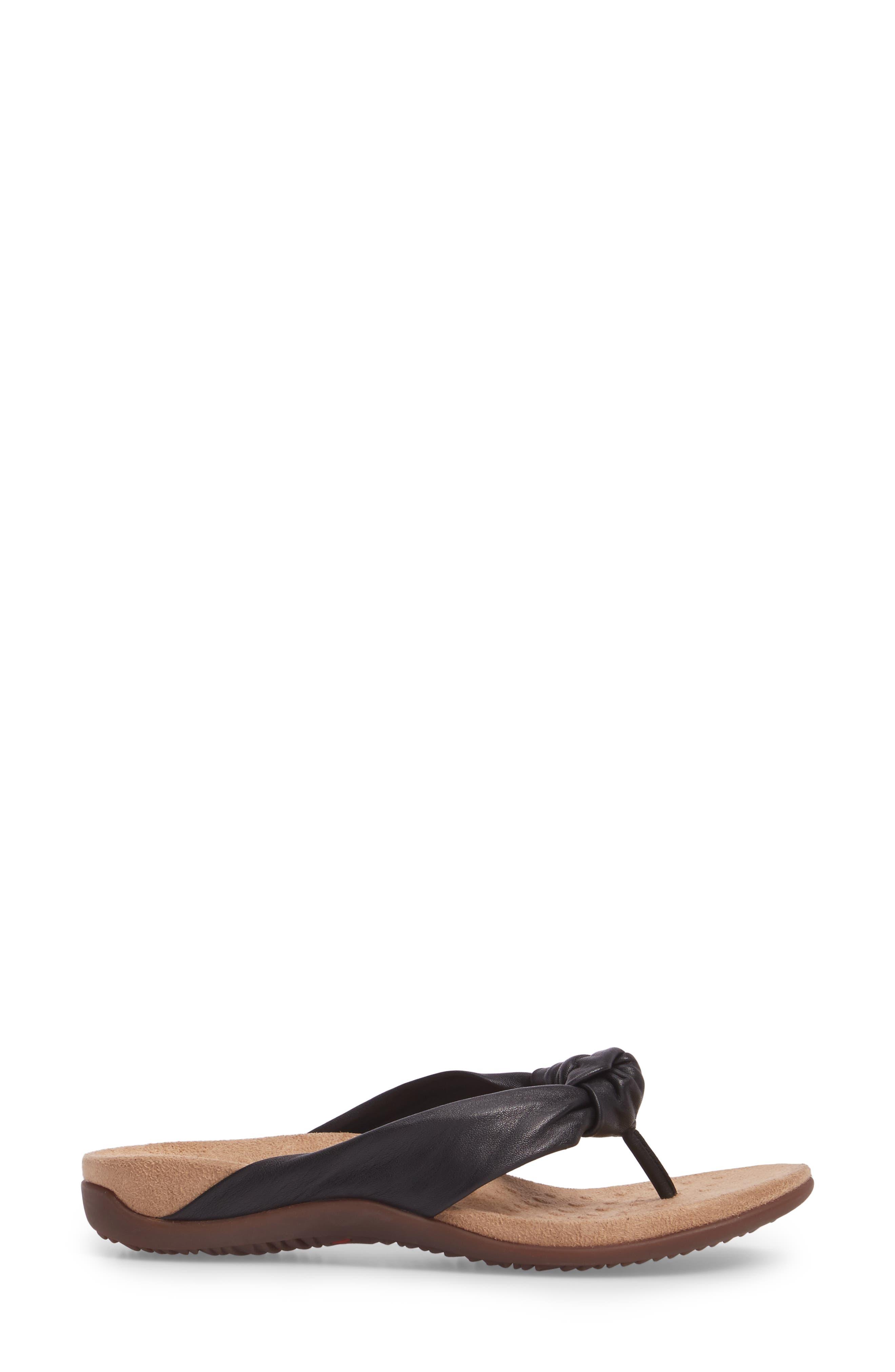 Pippa Flip Flop,                             Alternate thumbnail 3, color,                             Black Leather