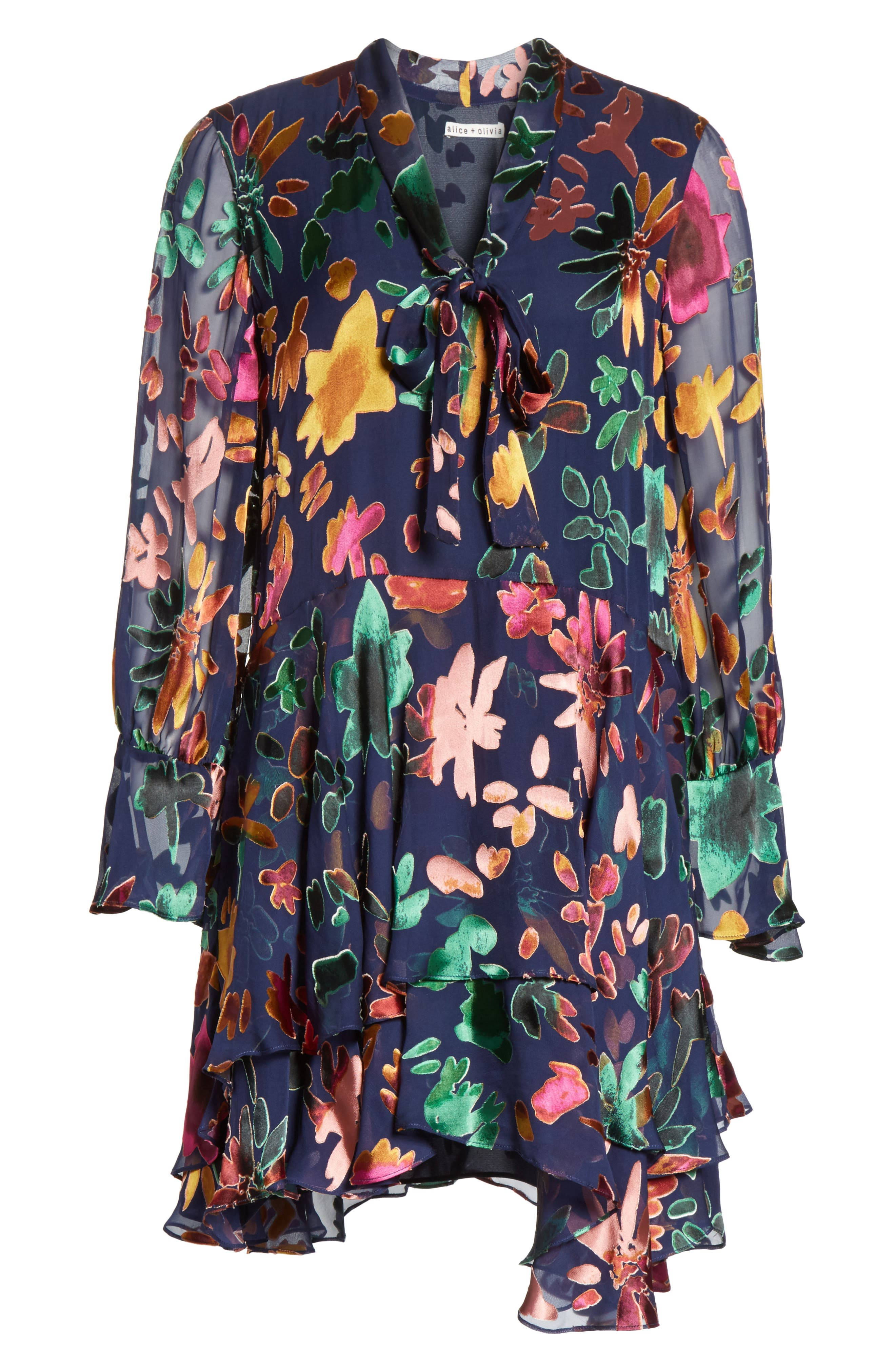 Moore Layered Skirt Tunic Dress,                             Alternate thumbnail 6, color,                             Prisma Floral Sapphire