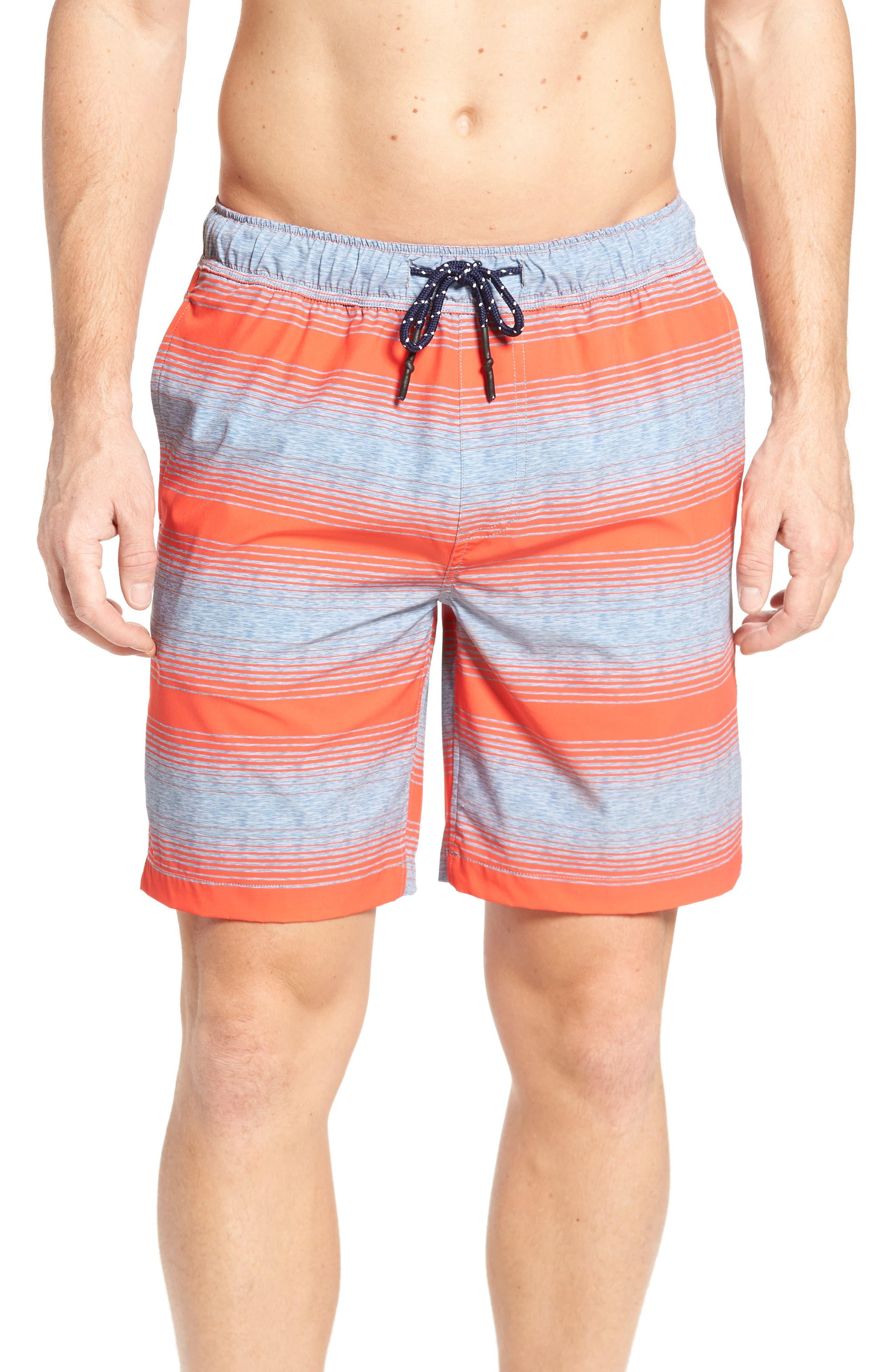 Stripe Swim Trunks,                             Main thumbnail 1, color,                             Hot Coral