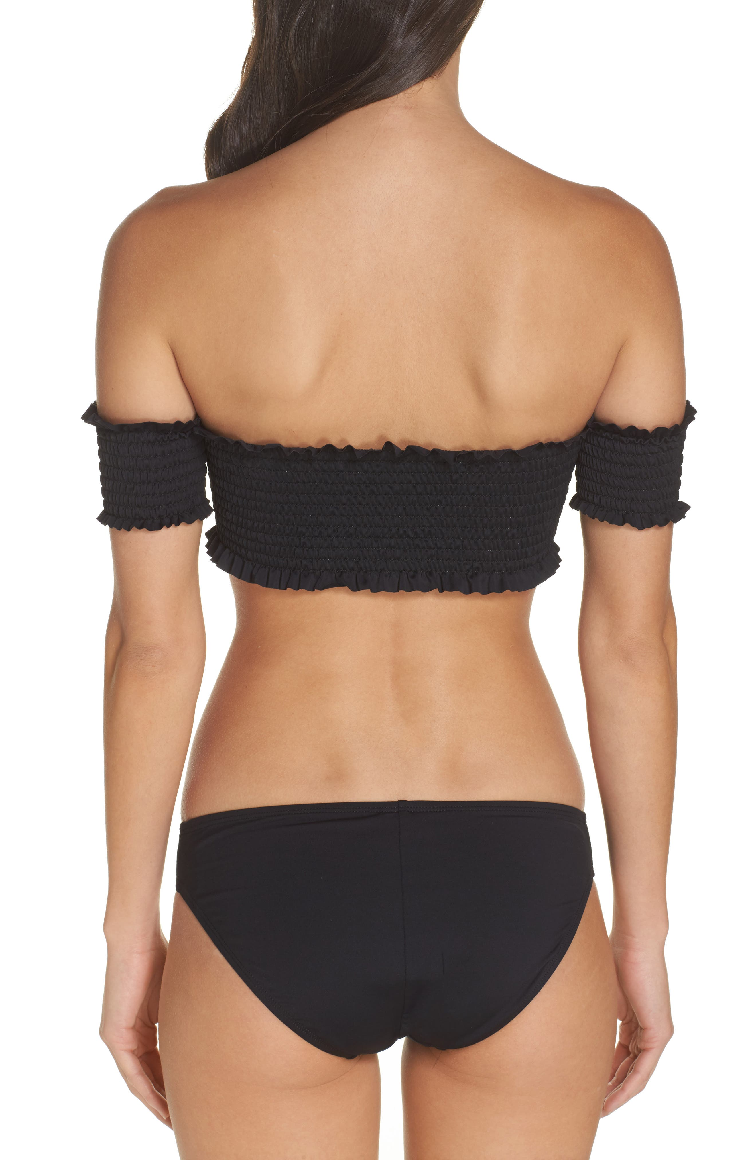 Alternate Image 2  - PilyQ Smocked Off the Shoulder Bikini Top