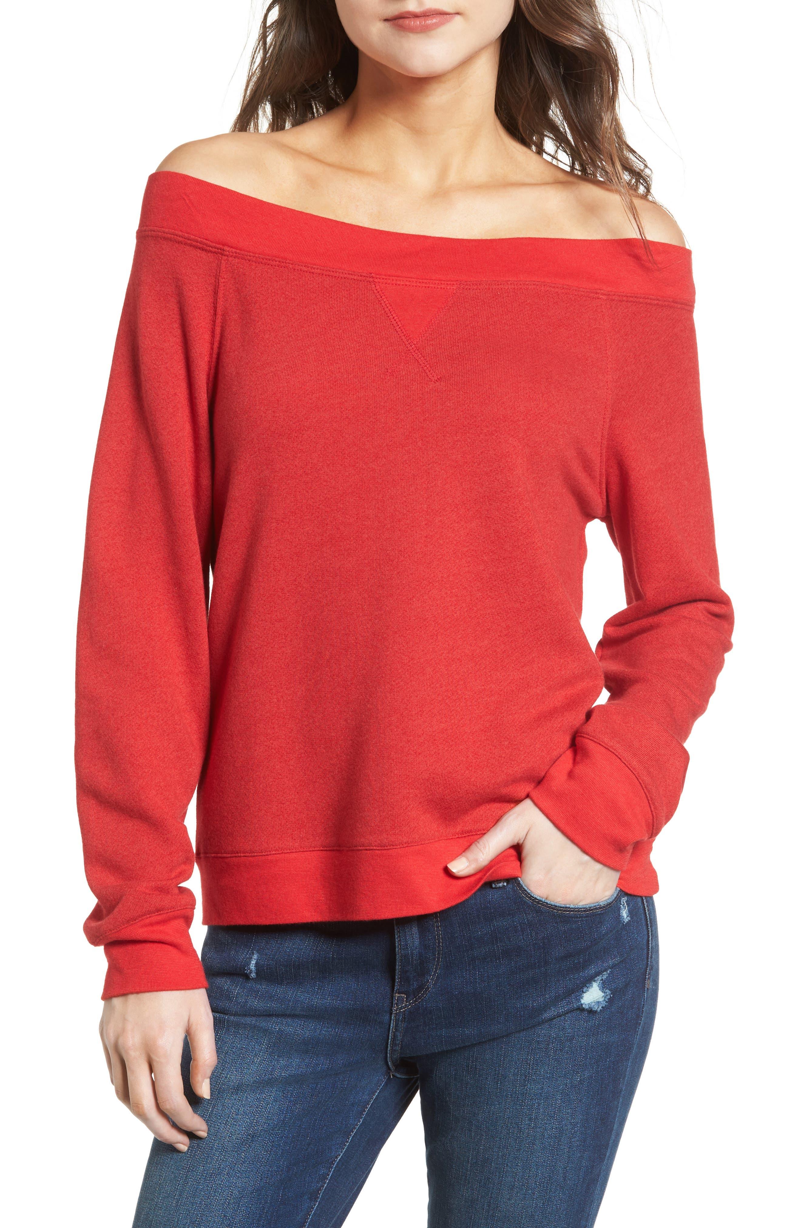 Off the Shoulder Sweatshirt,                         Main,                         color, Red Barbados