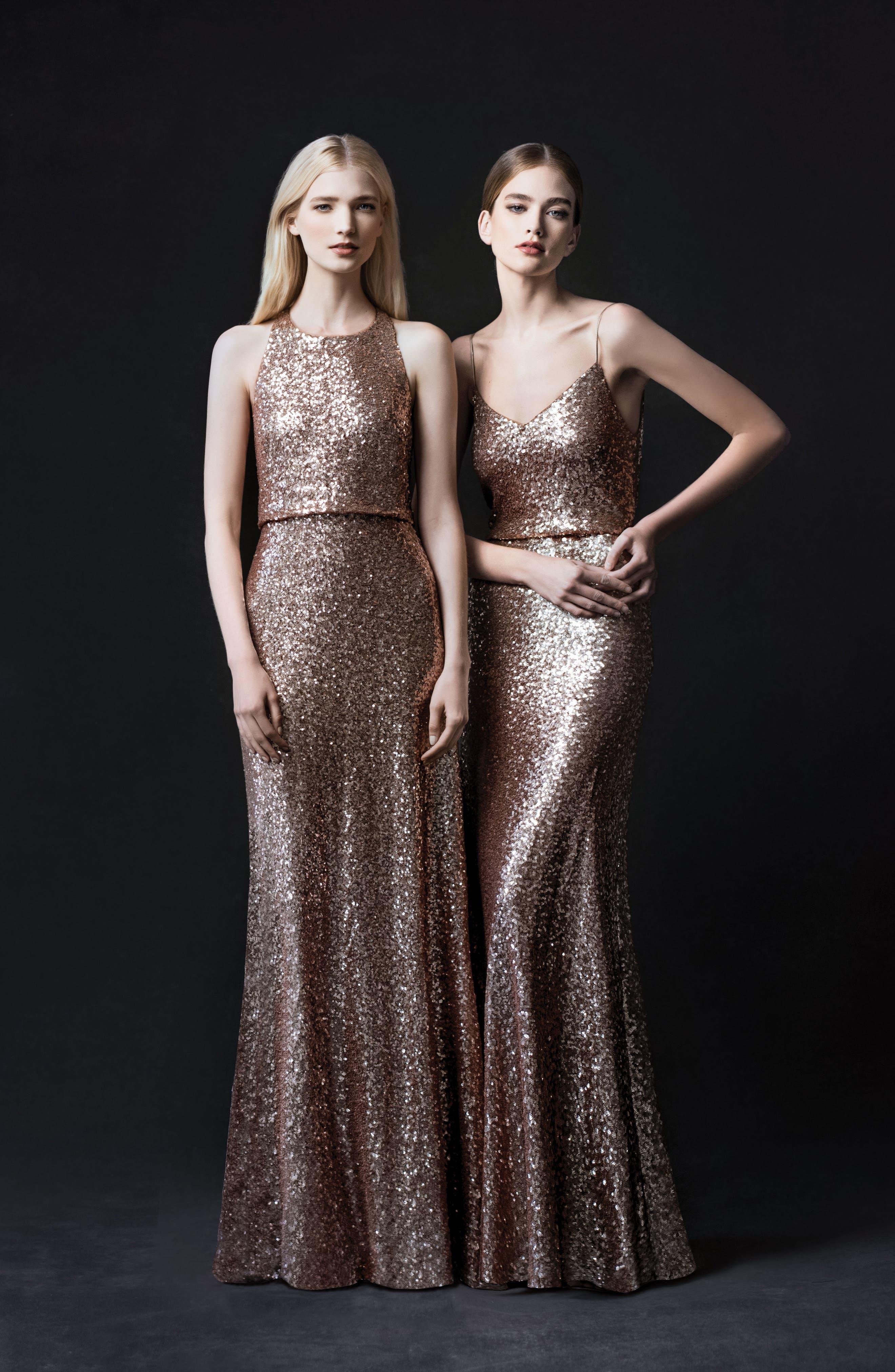 Sloane Sequin Halter Gown,                             Alternate thumbnail 6, color,                             Rose Gold
