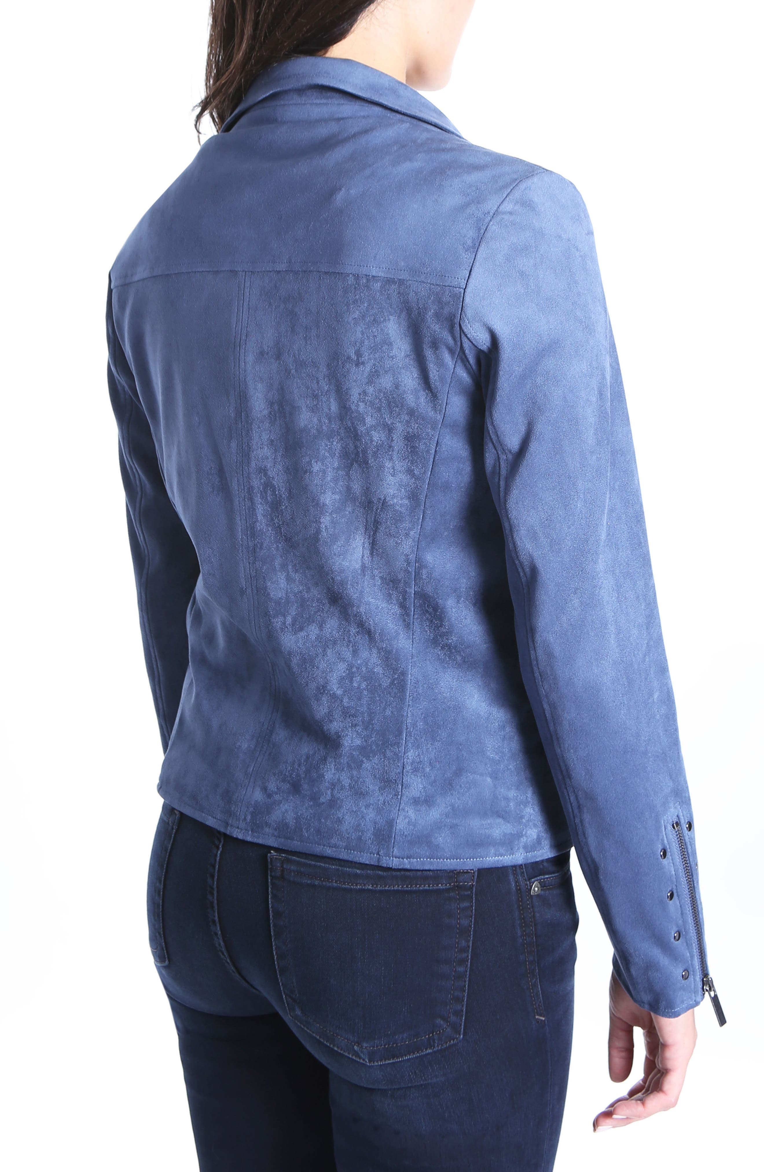 Faux Suede Eveline Jacket,                             Alternate thumbnail 2, color,                             Slate Blue