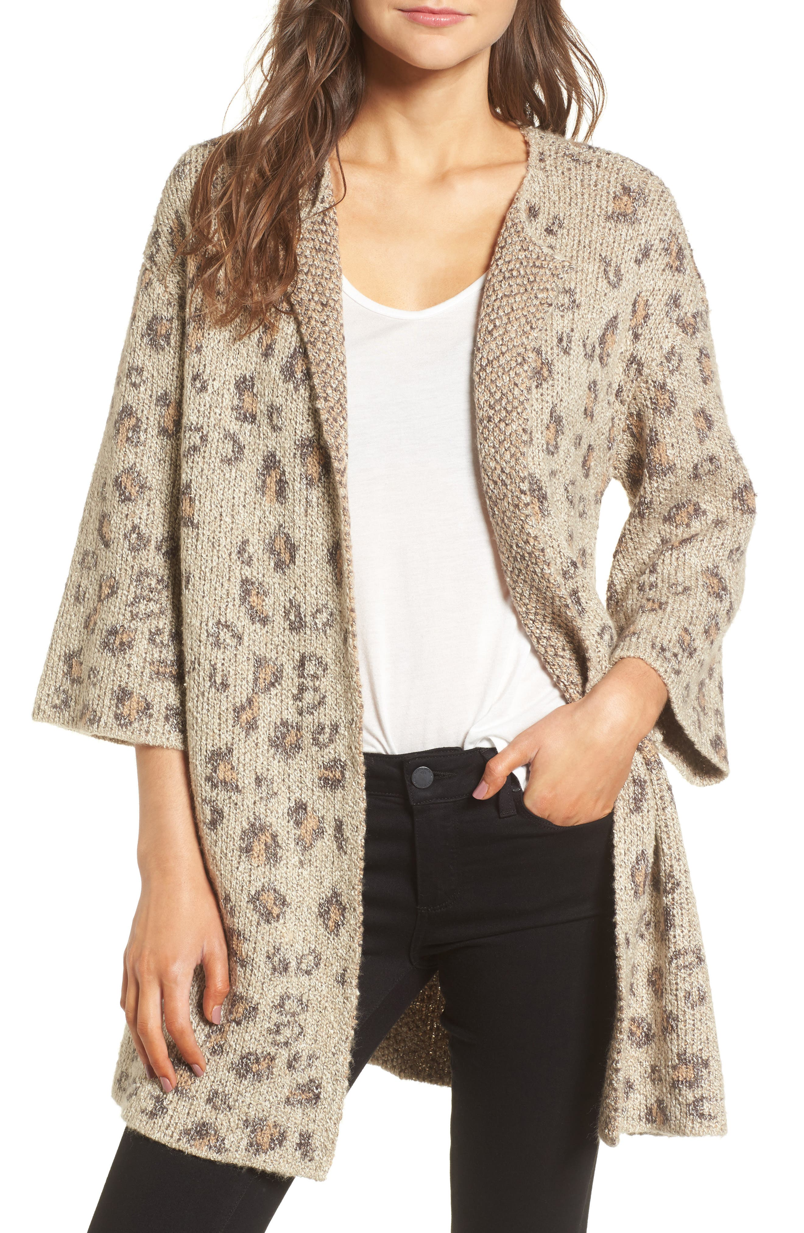 Main Image - cupcakes and cashmere Noely Leopard Pattern Cardigan