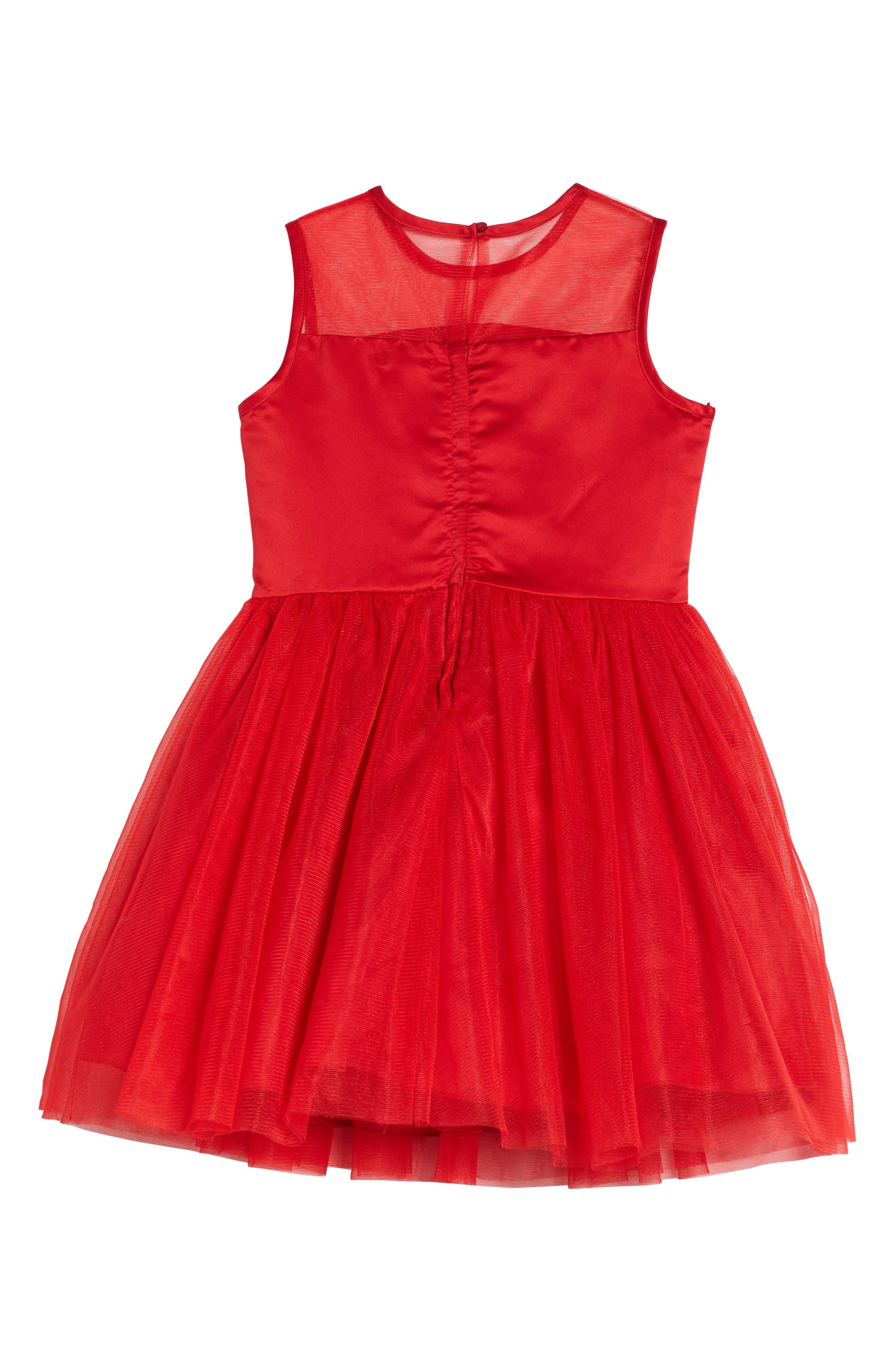Floral Embellished Sleeveless Dress,                             Alternate thumbnail 2, color,                             Red