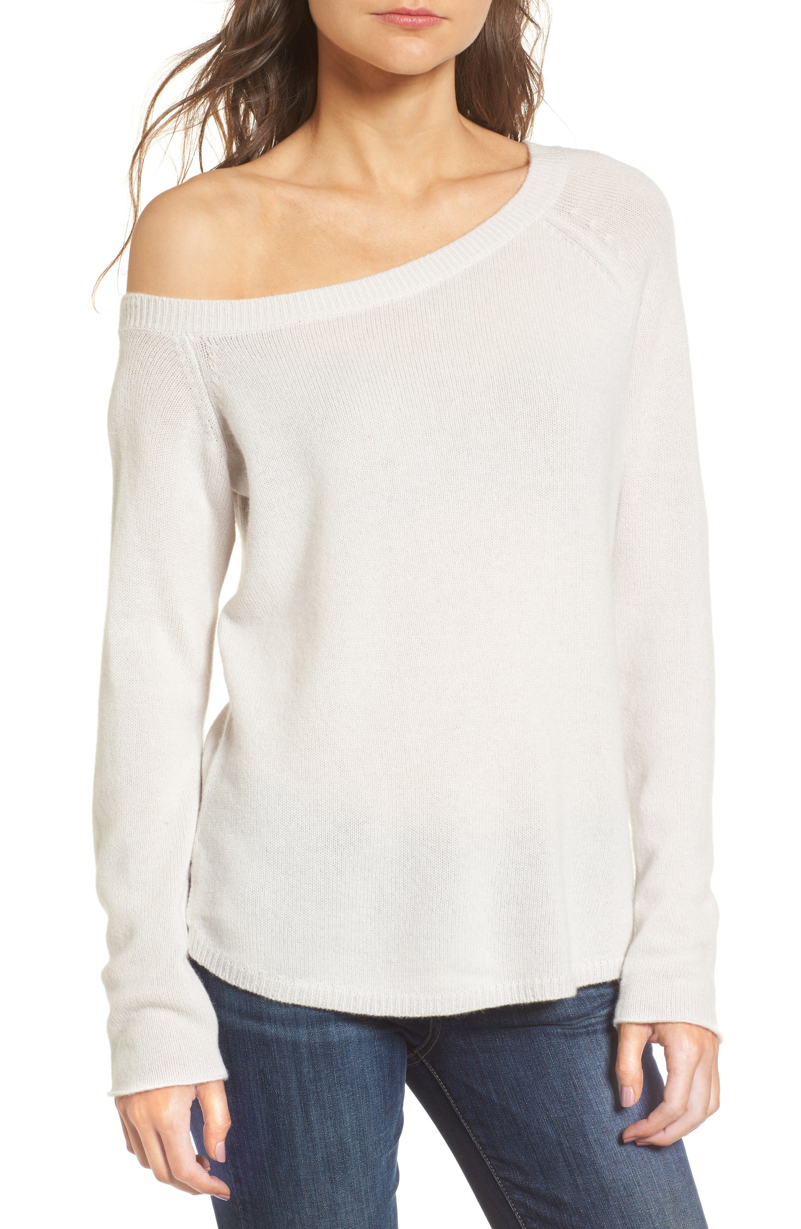 Off the Shoulder Cashmere Sweater,                         Main,                         color, Talc