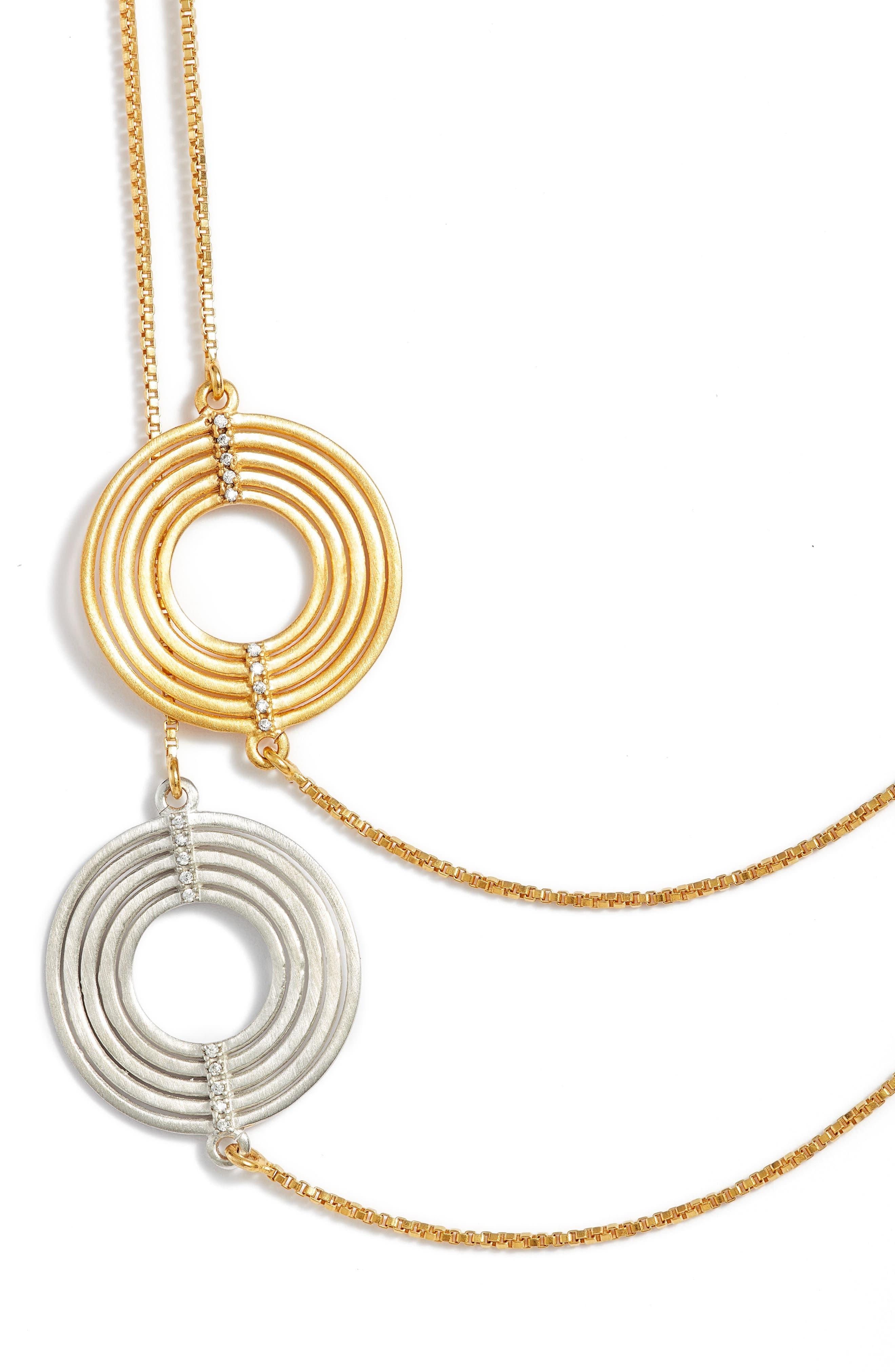 Zaha Multistrand Necklace,                             Alternate thumbnail 2, color,                             White Topaz/ Gold/ Silver