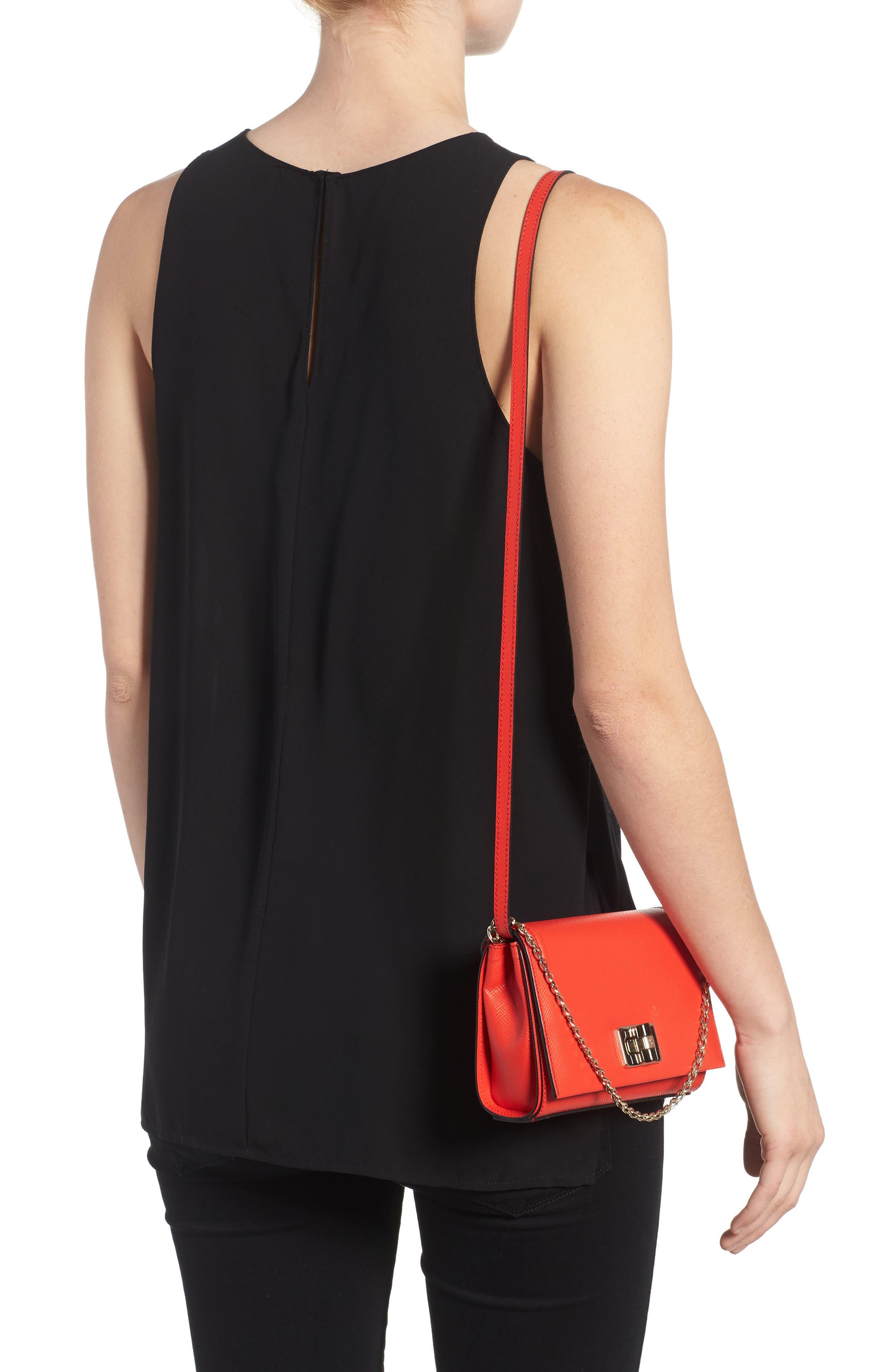 Mini Ilenea Leather Crossbody Bag,                             Alternate thumbnail 2, color,                             Coral Red