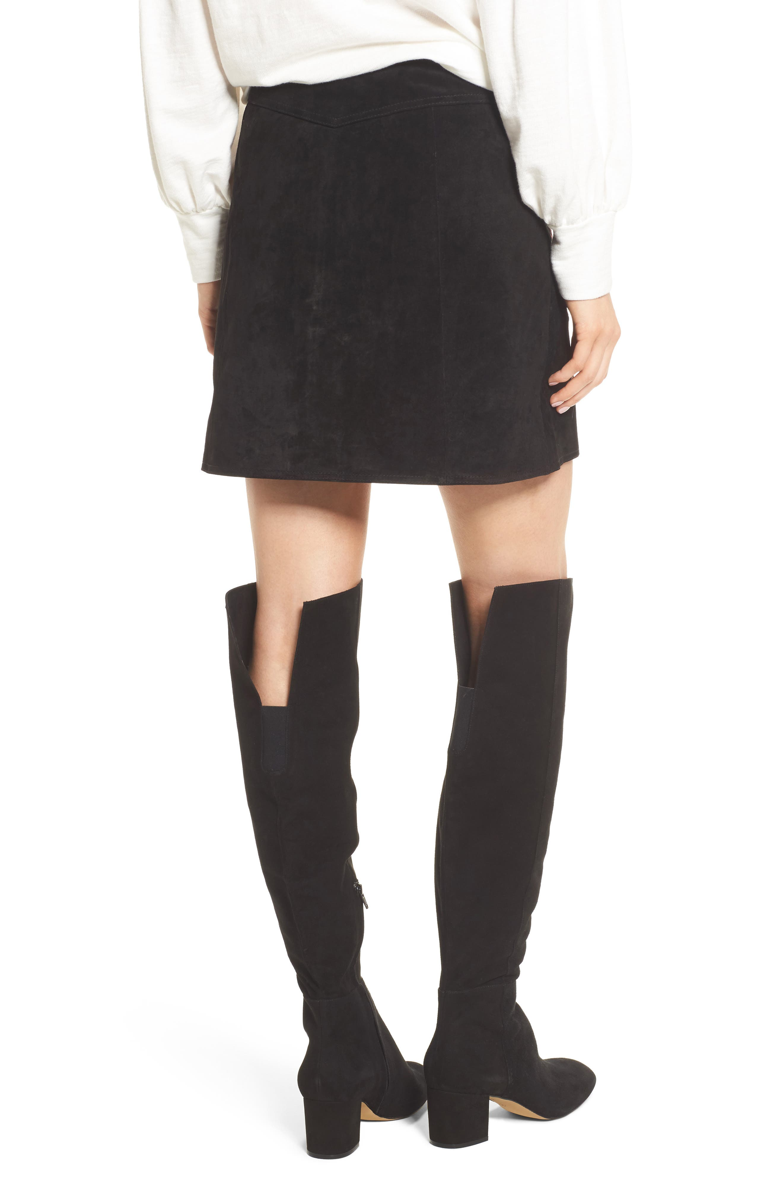Embroidered Suede Skirt,                             Alternate thumbnail 2, color,                             Black