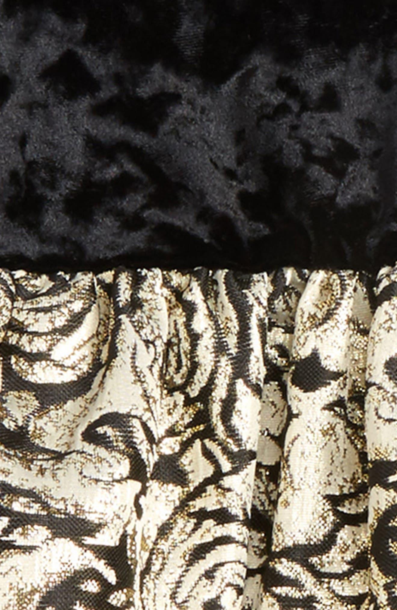 Velvet & Floral Jacquard Dress,                             Alternate thumbnail 2, color,                             Black/ Gold