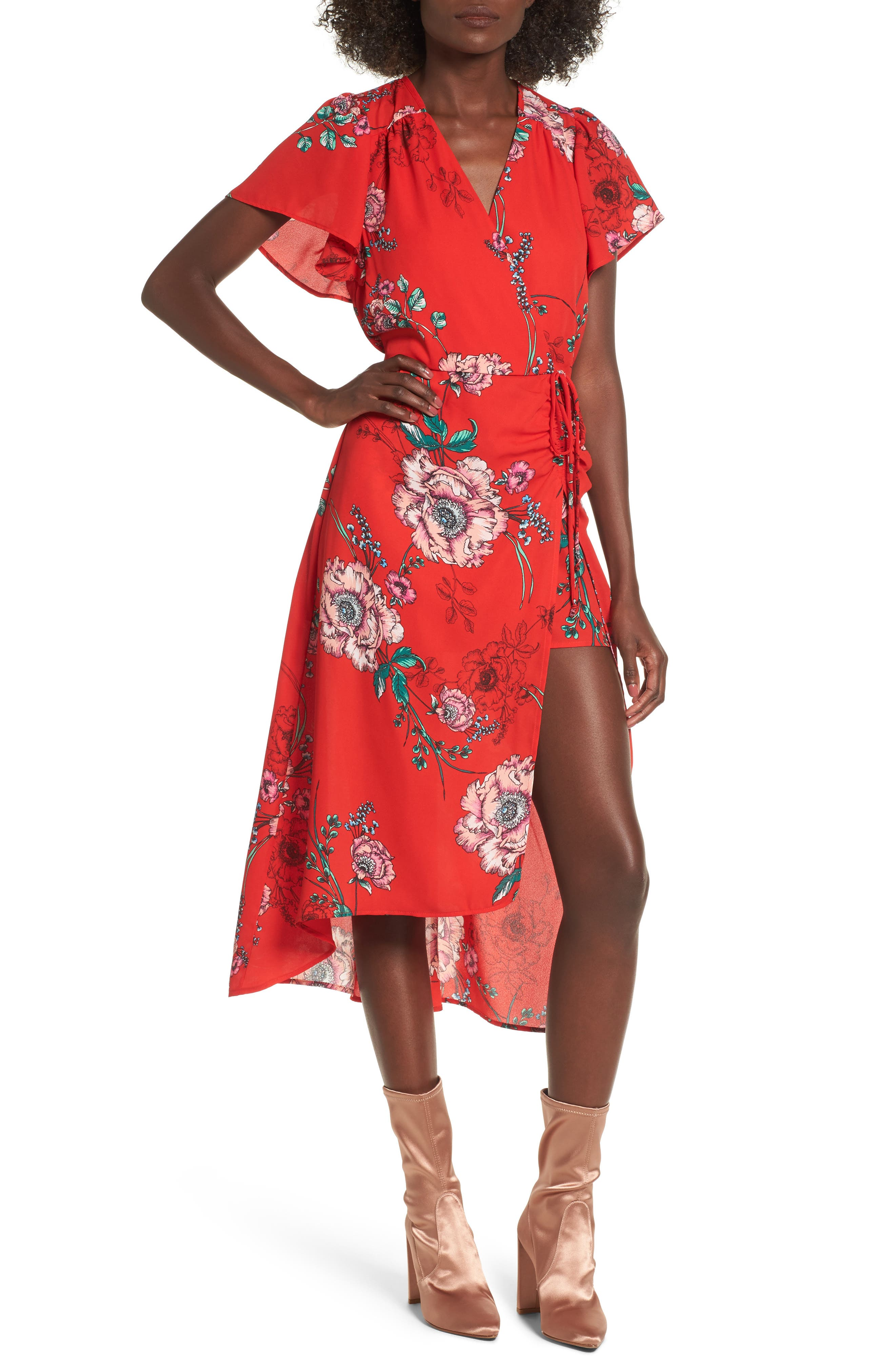 Faux Wrap Midi Walk Through Romper,                         Main,                         color, Red Floral