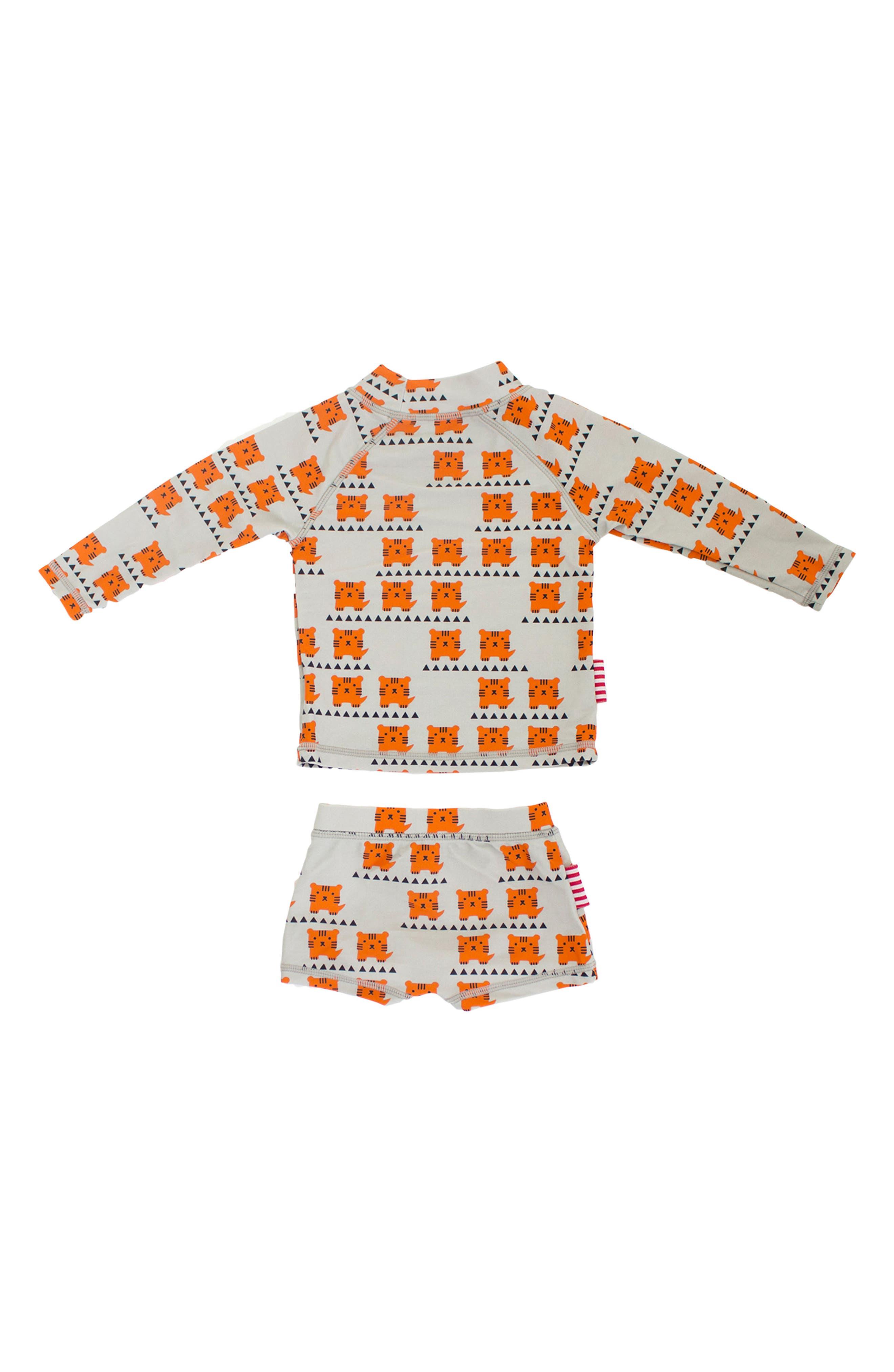 Alternate Image 2  - SOOKIbaby Cub In The Hub Two-Piece Rashguard Swimsuit (Baby Boys)