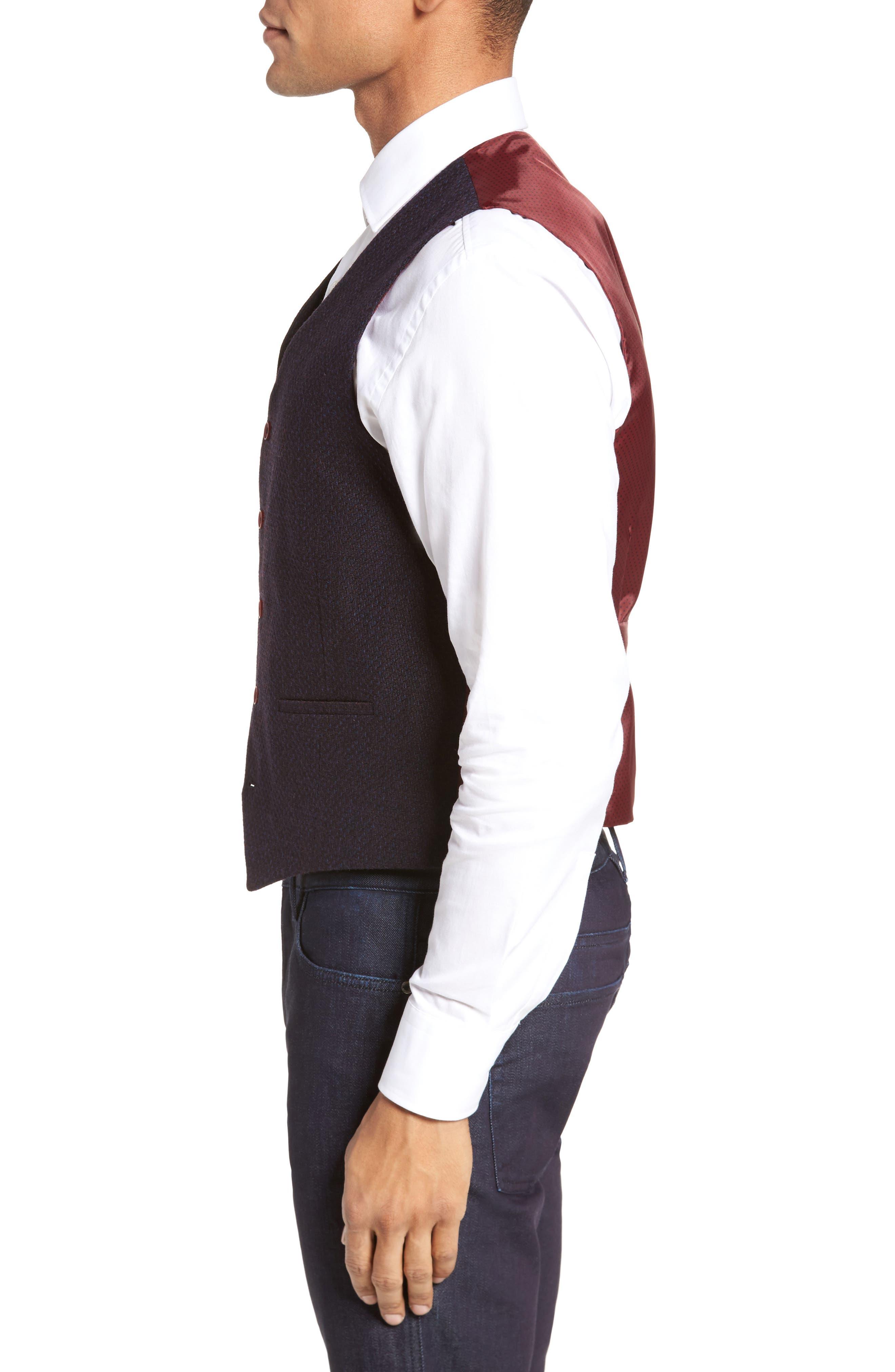 Textured Wool Blend Vest,                             Alternate thumbnail 3, color,                             Burgundy