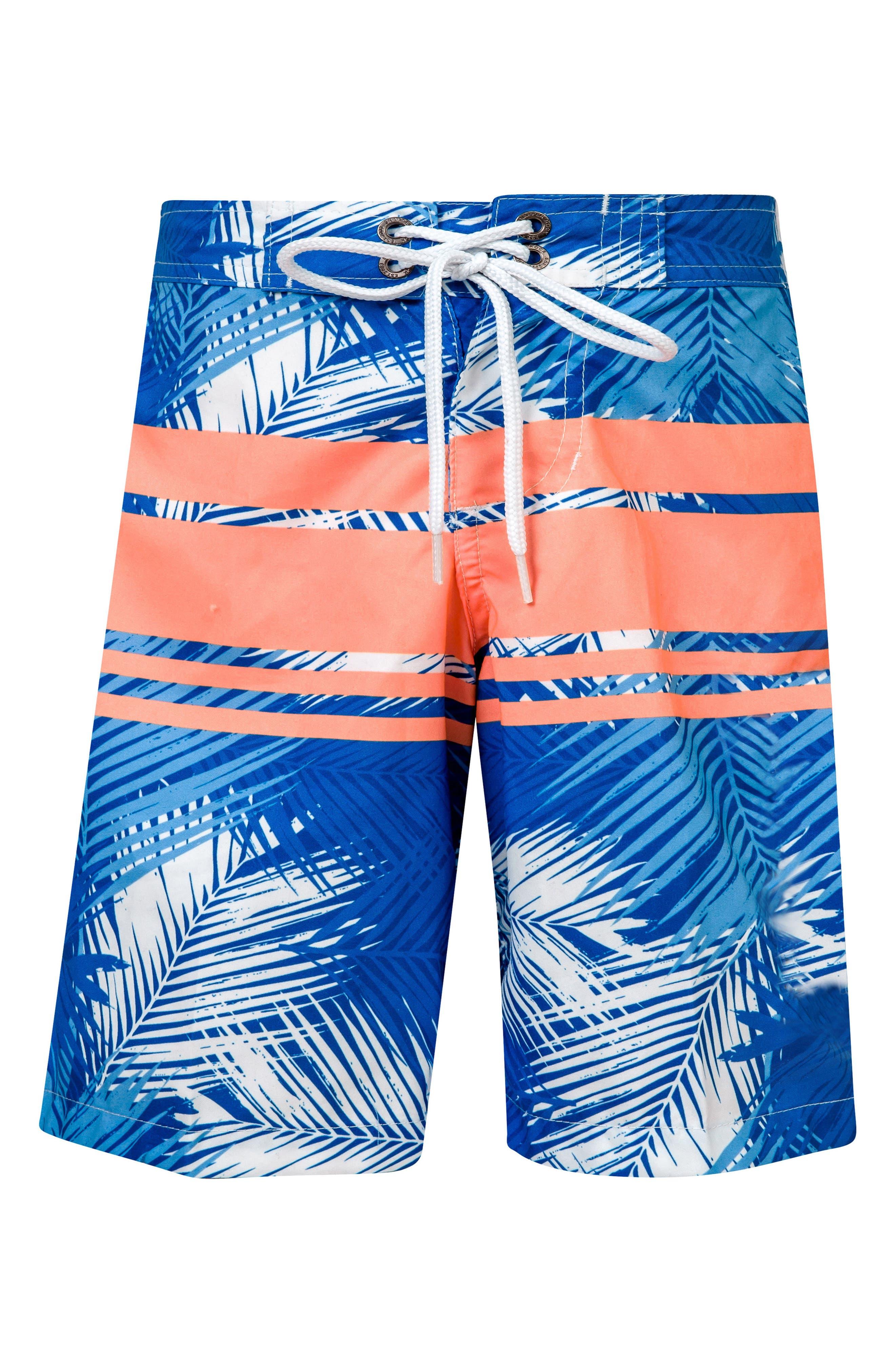 Tropical Neon Stripe Board Shorts,                             Main thumbnail 1, color,                             Royal/ Neon Coral/ White