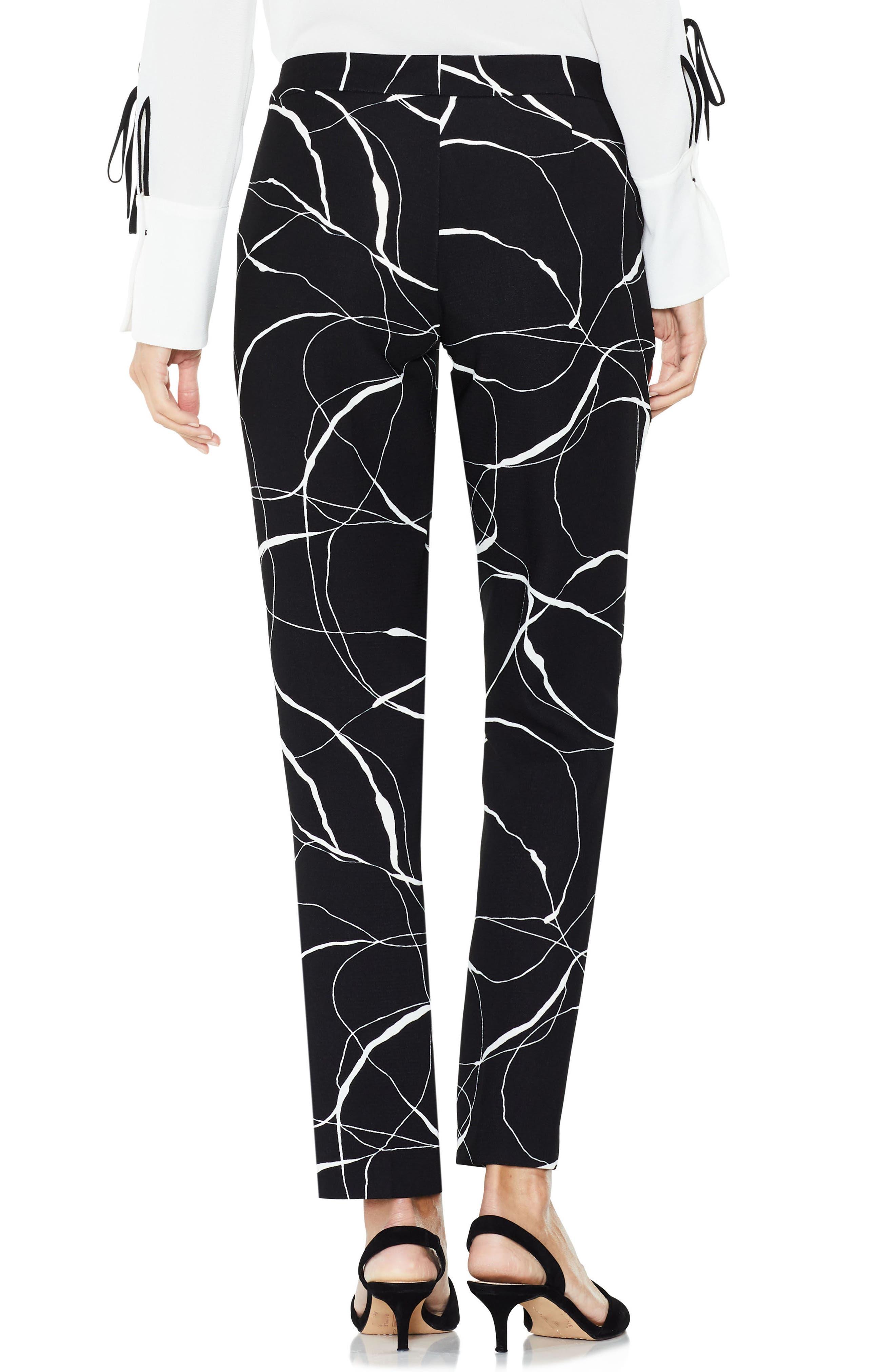 Ink Swirl Print Ankle Pants,                             Alternate thumbnail 2, color,                             Rich Black