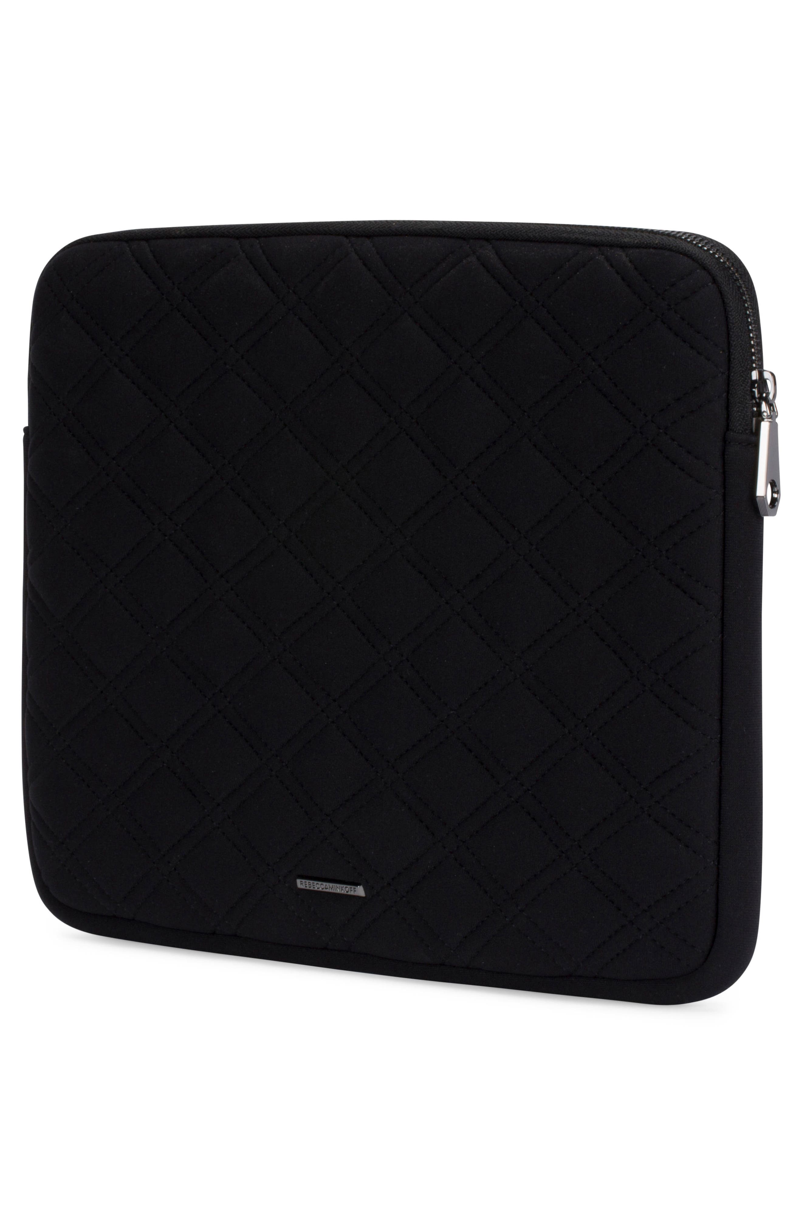 Quilted Stud Laptop Case,                             Alternate thumbnail 2, color,                             Black/ Black Pearl Studs