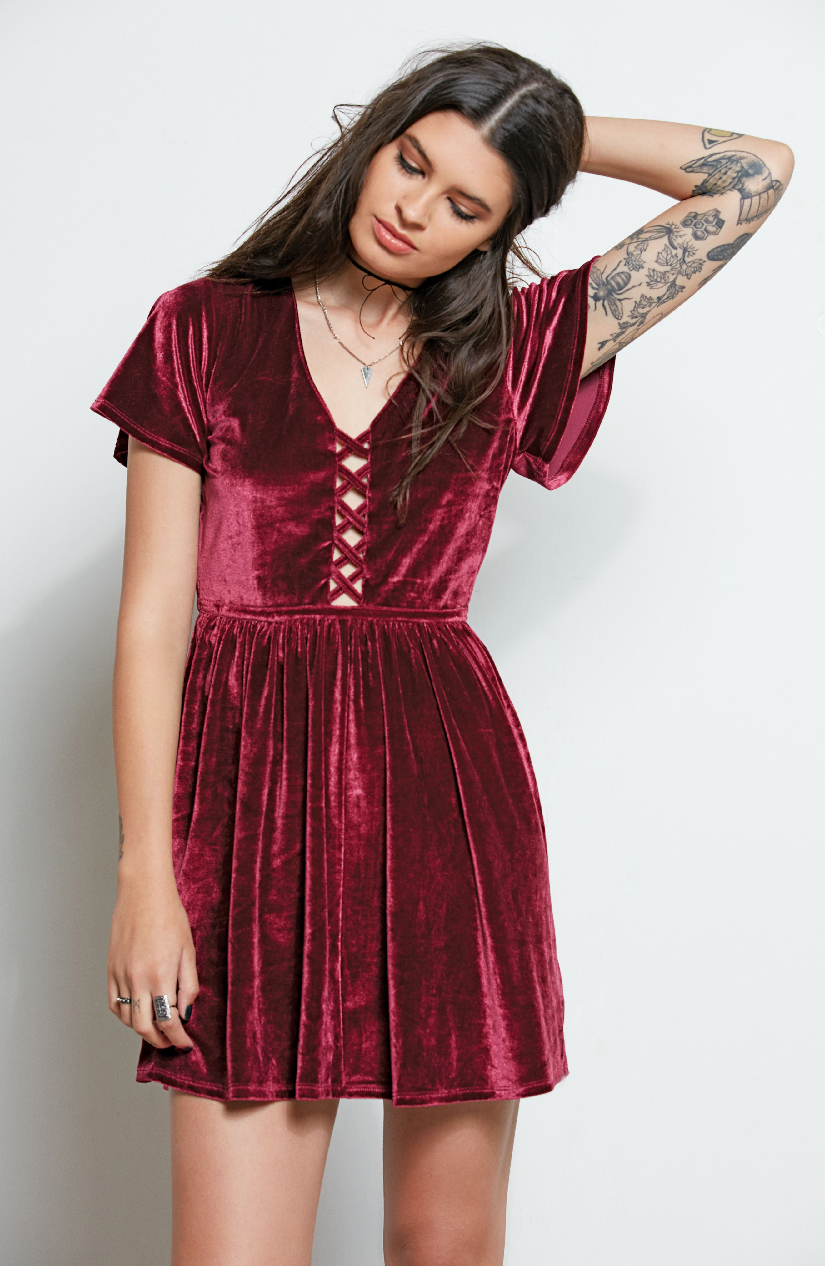Velvacious Dress,                             Alternate thumbnail 2, color,                             Burgundy