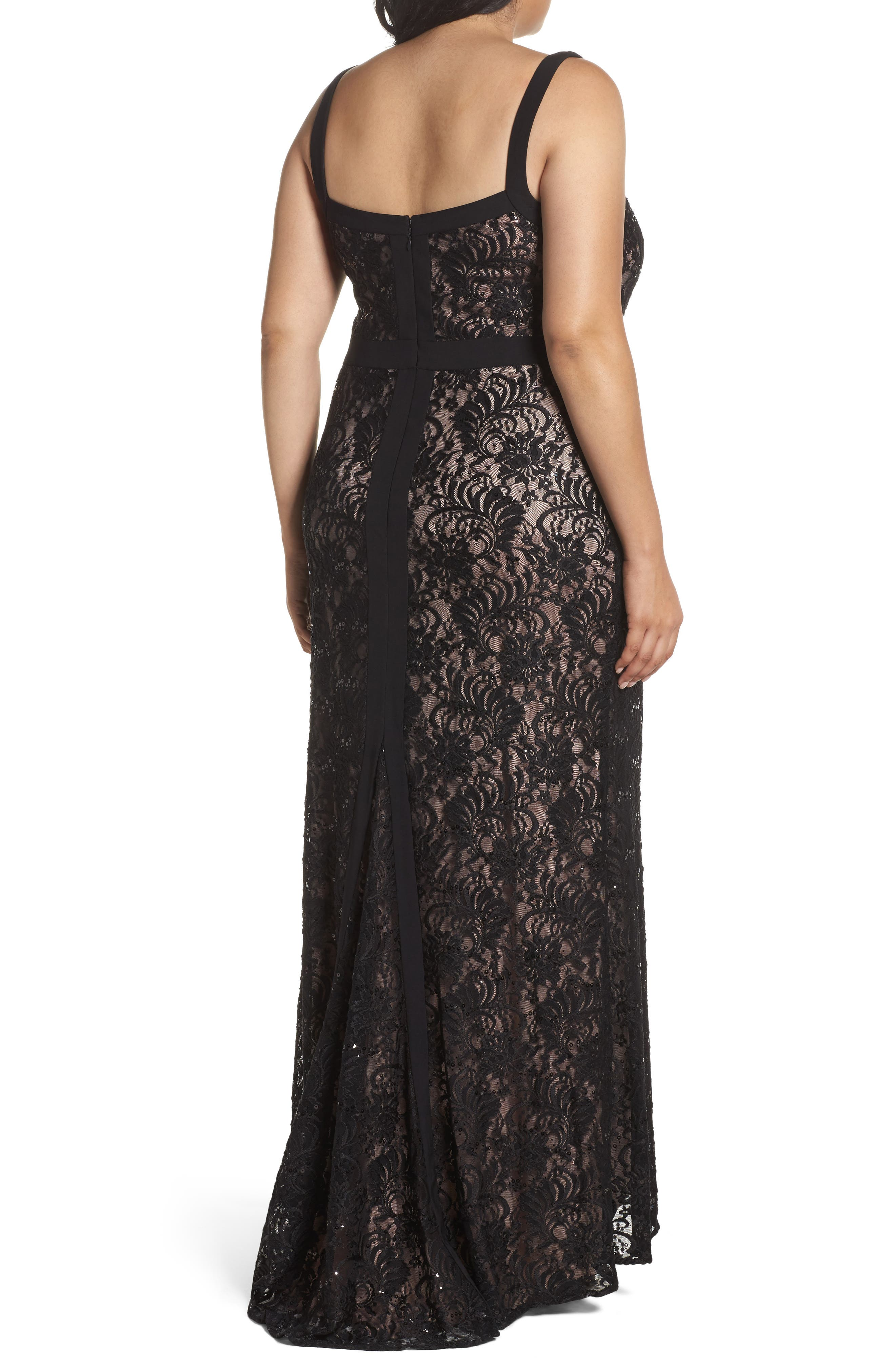 Lace Square Neck Gown,                             Alternate thumbnail 2, color,                             Black/ Nude