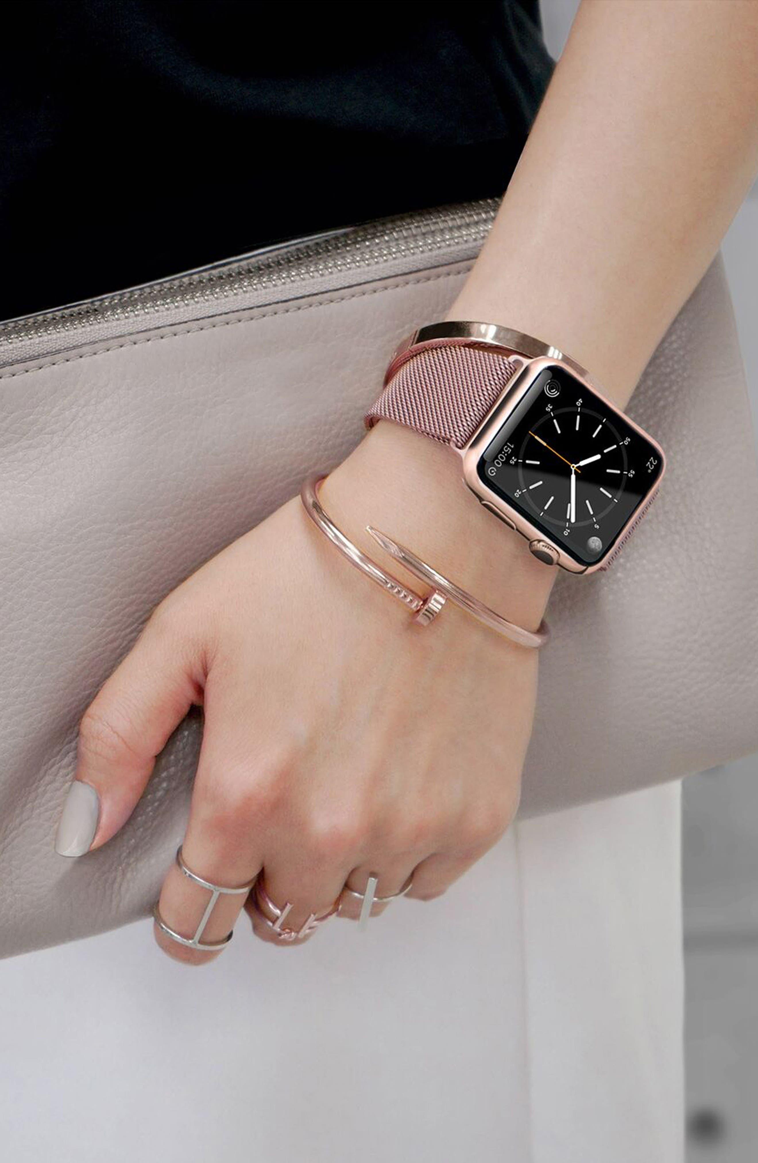 Mesh Apple Watch Strap, 38mm,                             Alternate thumbnail 5, color,                             Rose Gold