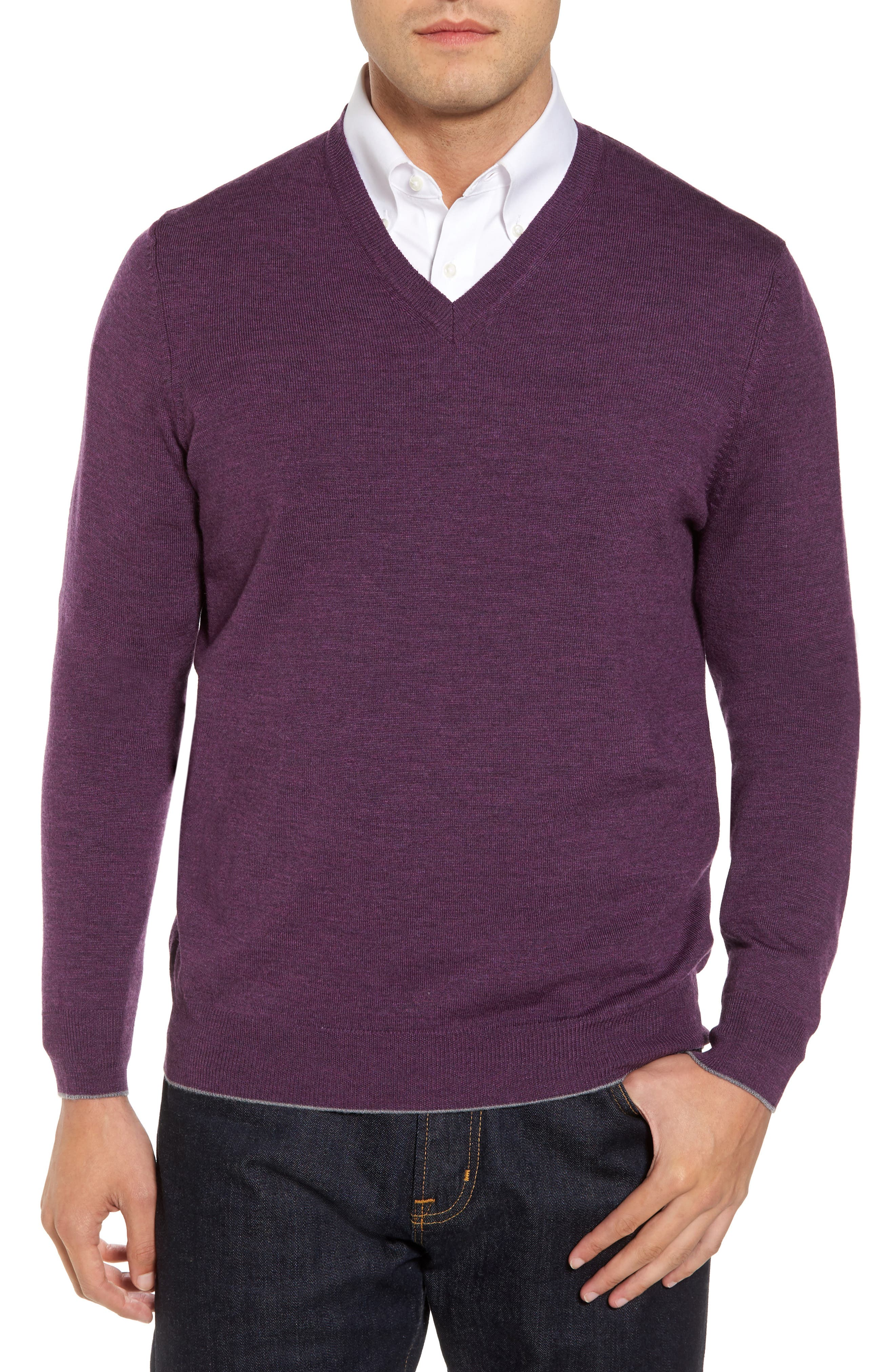 Merino Wool Blend V-Neck Sweater,                             Main thumbnail 1, color,                             Purple