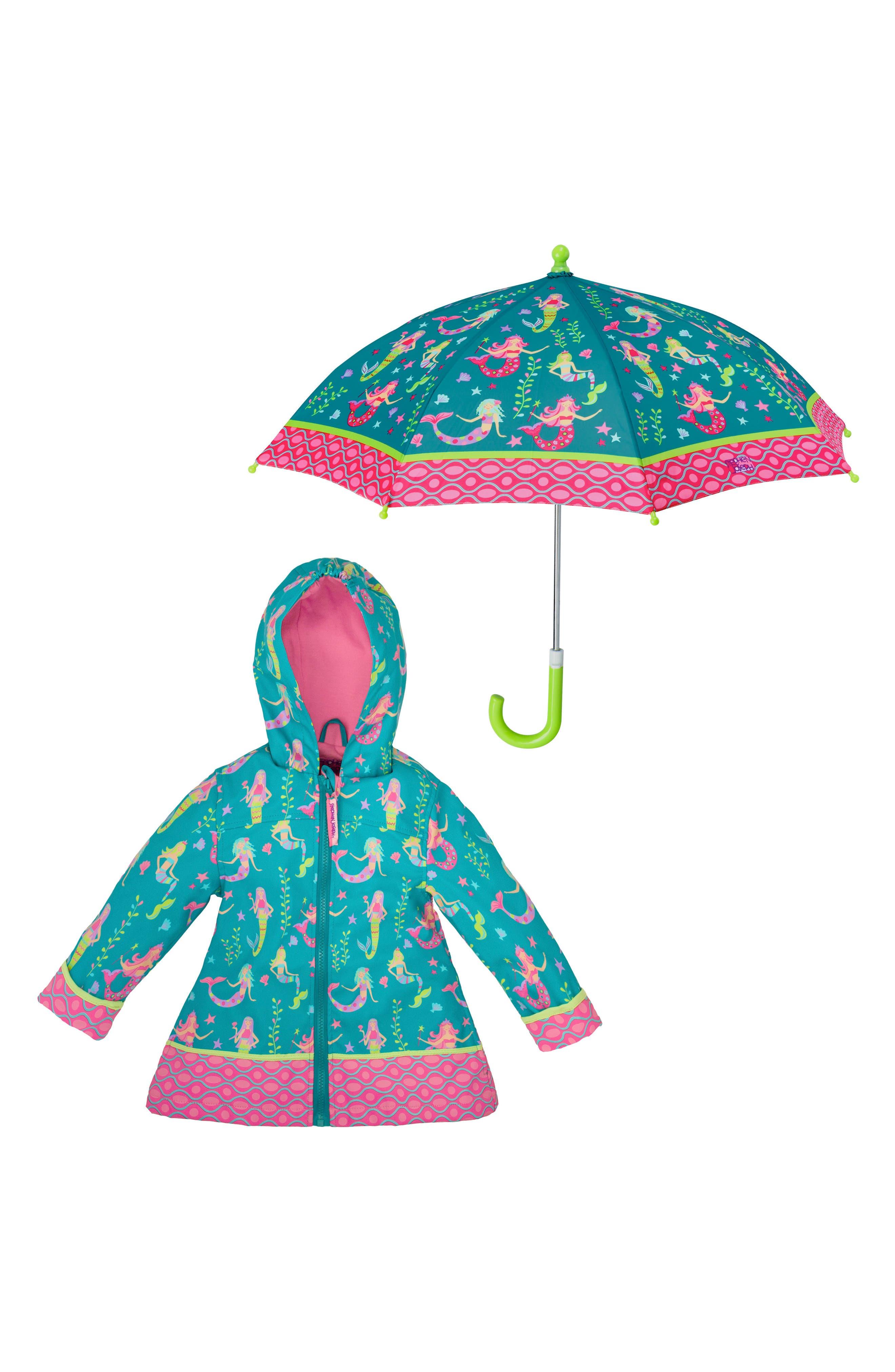 Alternate Image 1 Selected - Stephen Joseph Mermaid Raincoat & Umbrella Set (Toddler Girls, Little Girls & Big Girls)