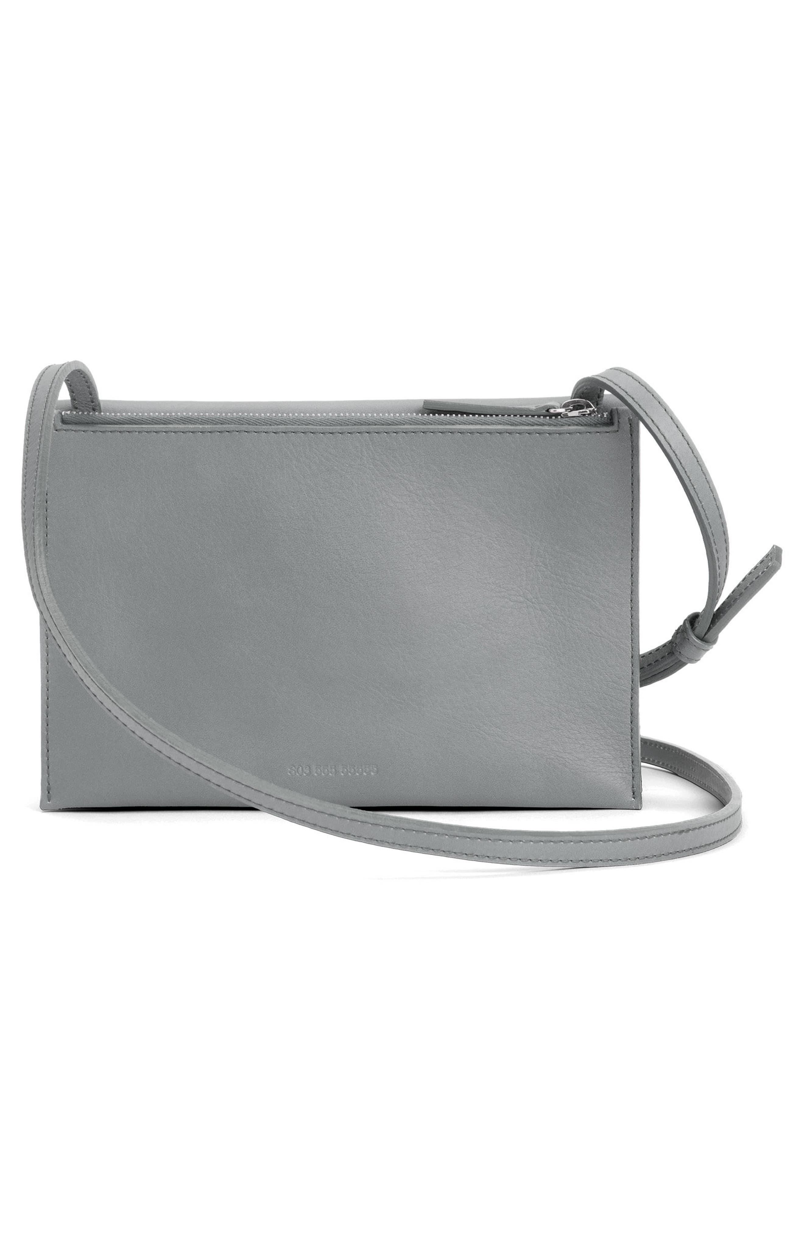Crossbody Leather Bag,                             Alternate thumbnail 2, color,                             Cool Grey