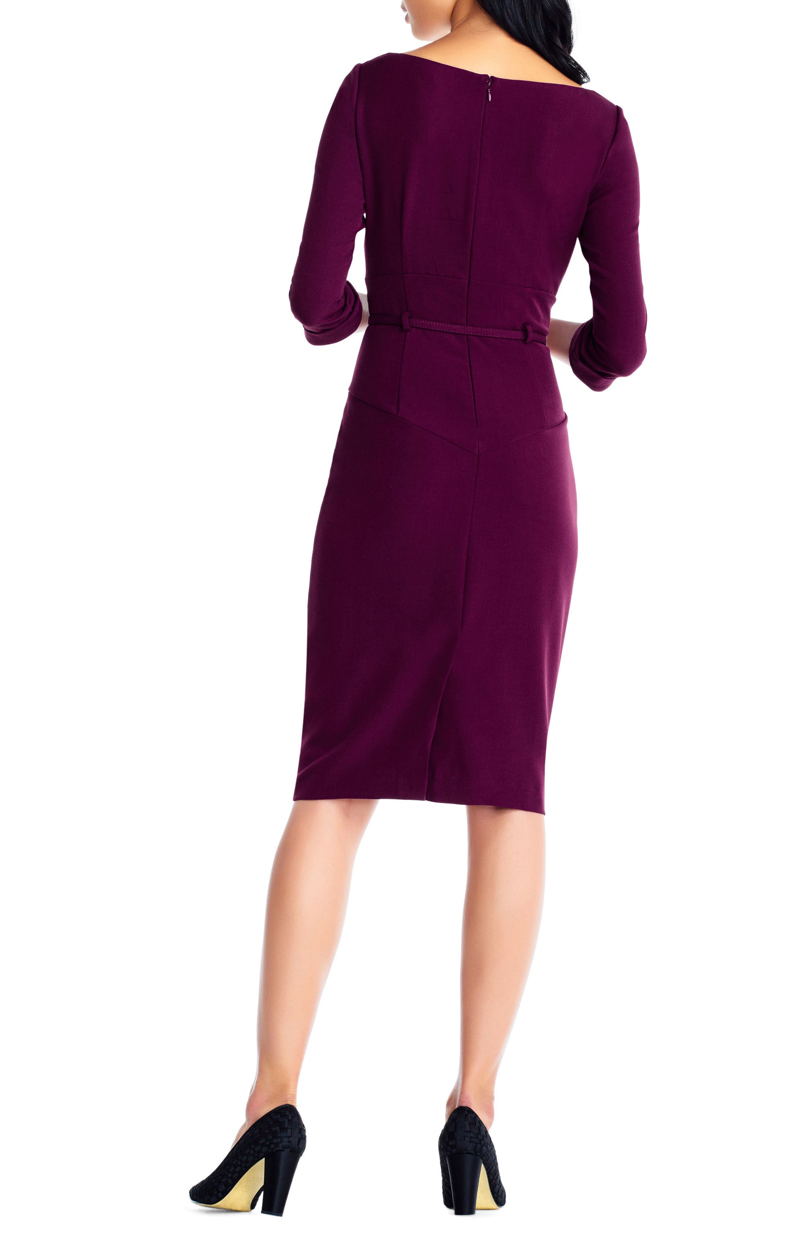 Belted Crepe Sheath Dress,                             Alternate thumbnail 2, color,                             Red