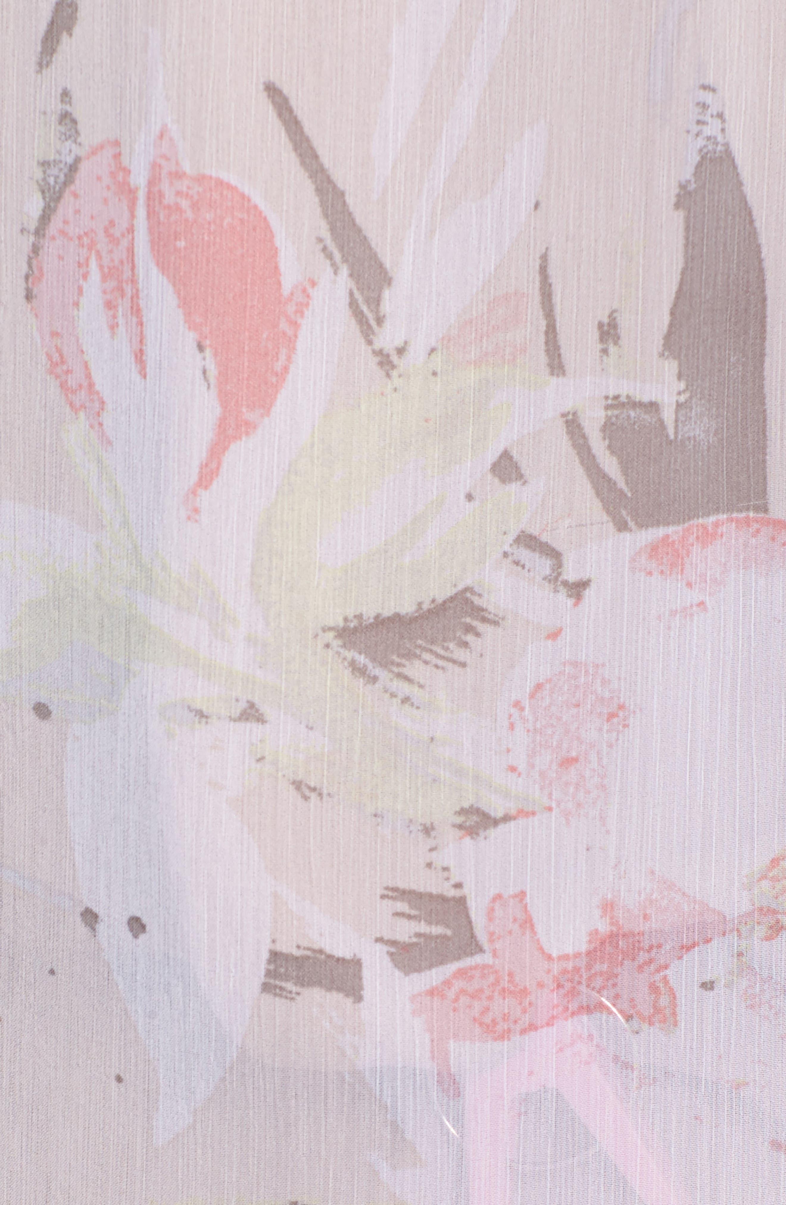 Sheer Ruffle Long Top,                             Alternate thumbnail 5, color,                             Beige Morn Fierce Edge Floral