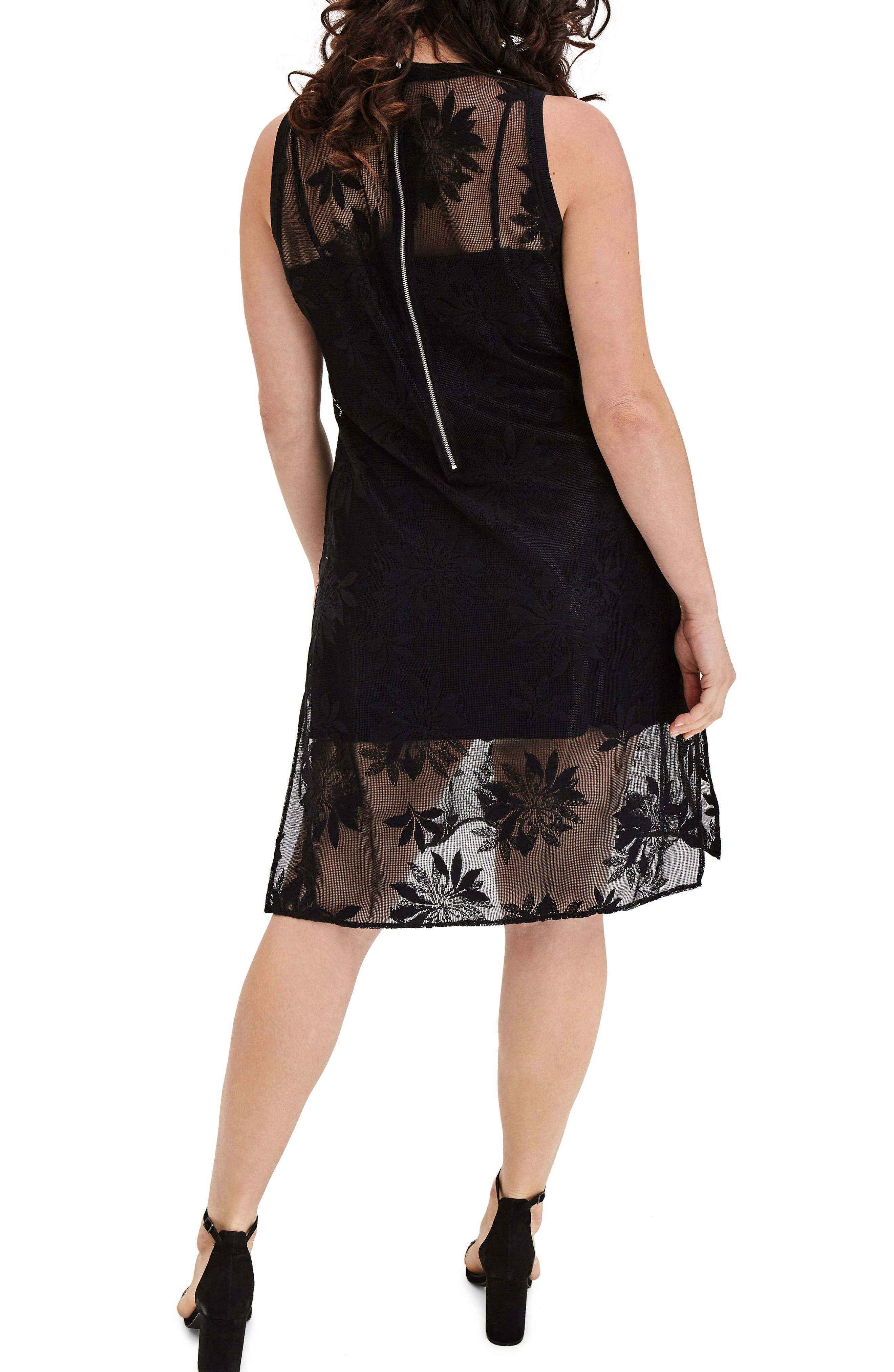 Alternate Image 2  - ELVI Floral Lace Tunic Dress (Plus Size)