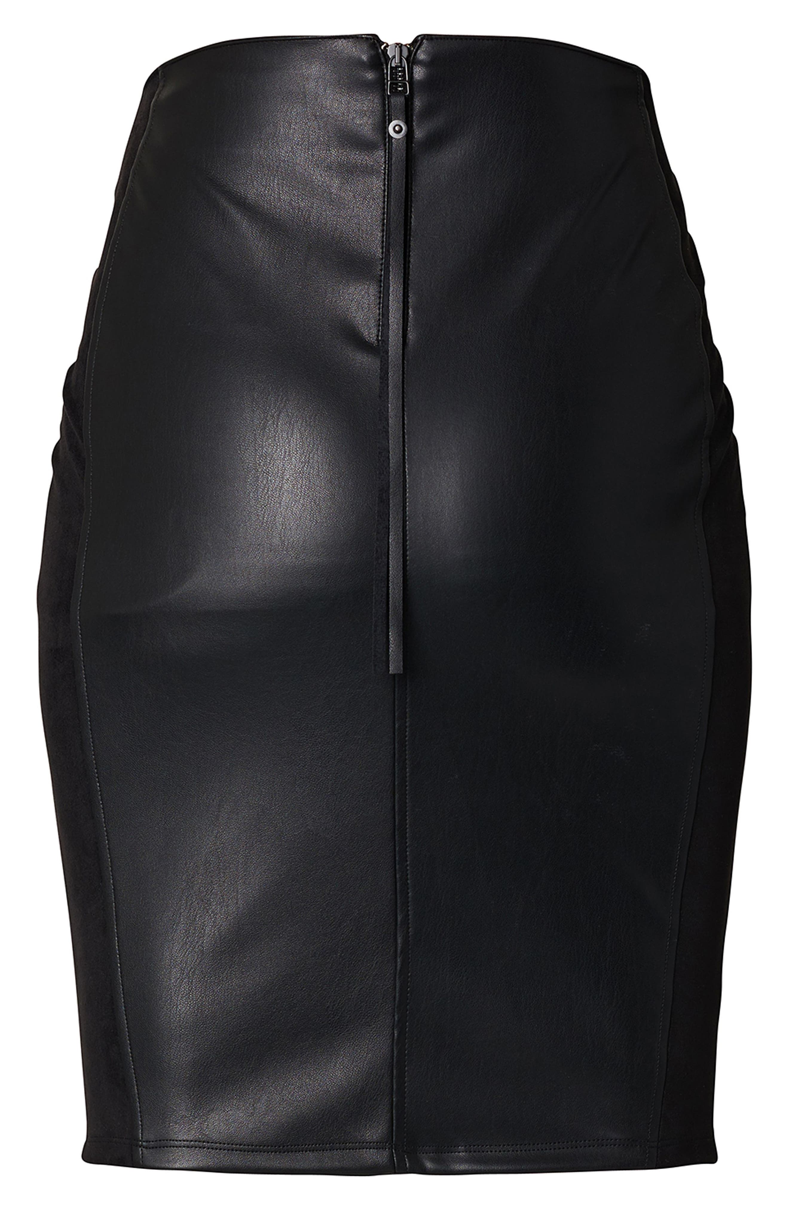 High Waist Faux Leather Skirt,                             Alternate thumbnail 3, color,                             Black