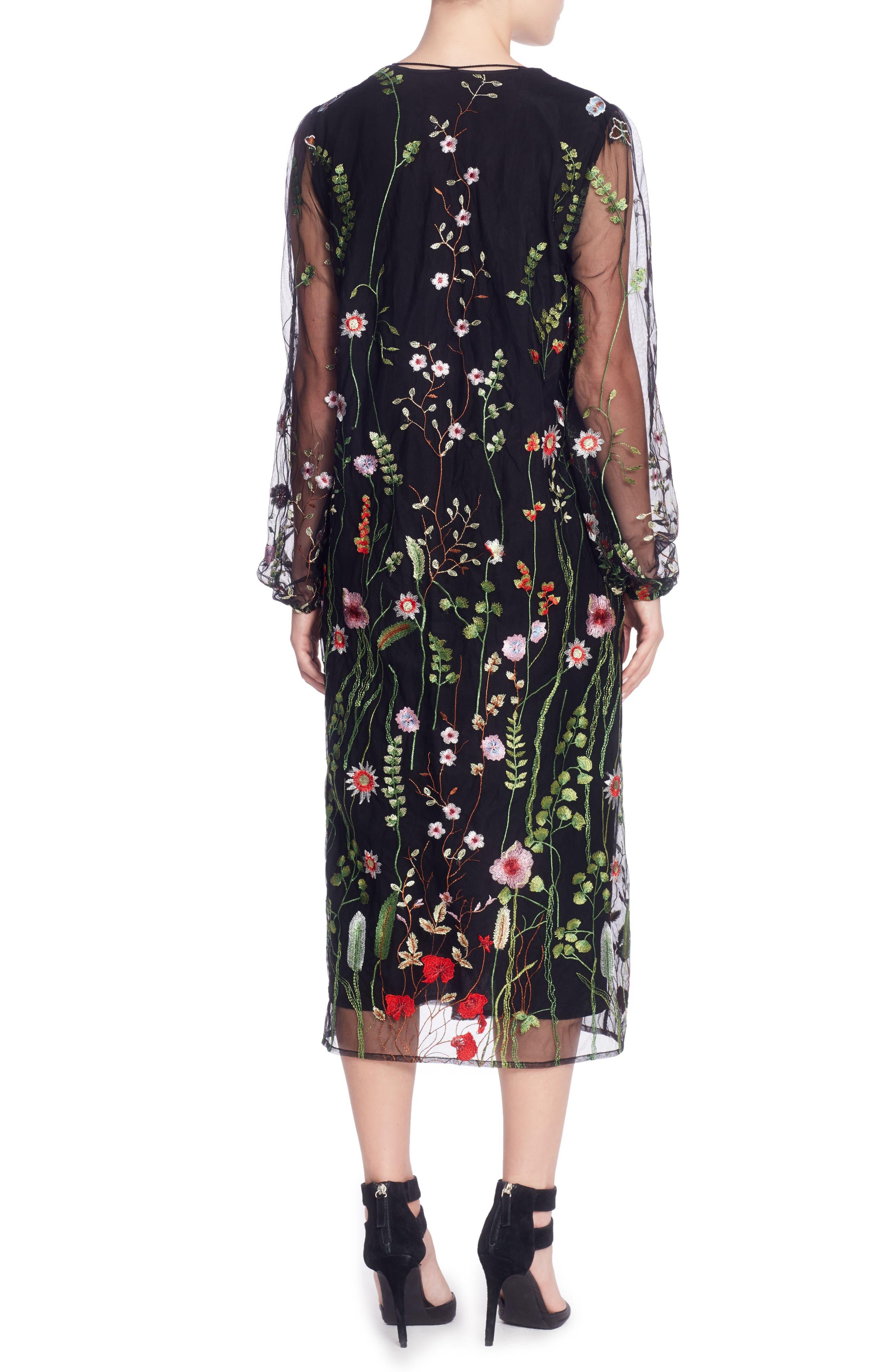 Mirella Midi Dress,                             Alternate thumbnail 2, color,                             Black
