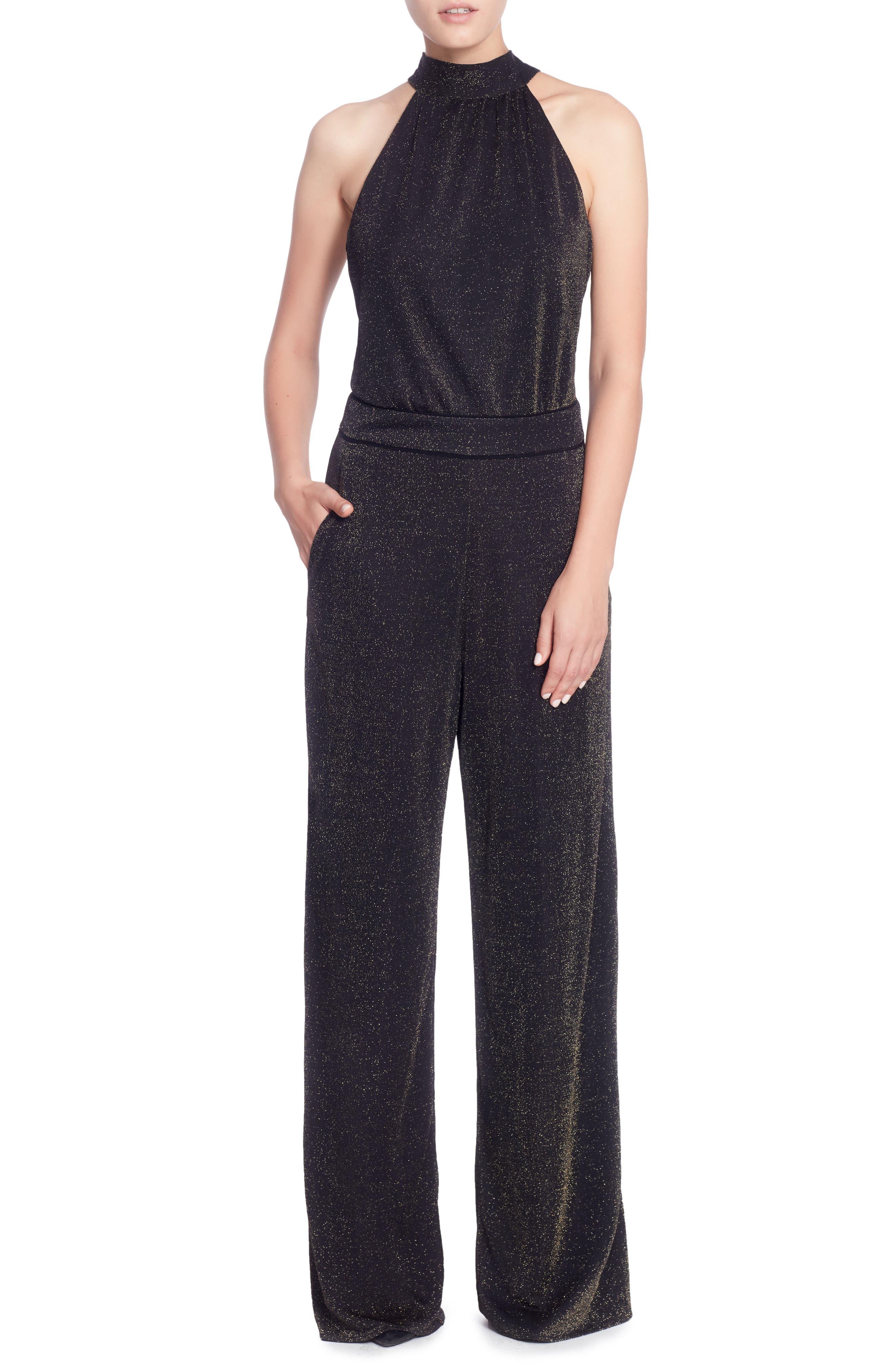 Campbell Jumpsuit,                         Main,                         color, Black/ Gold