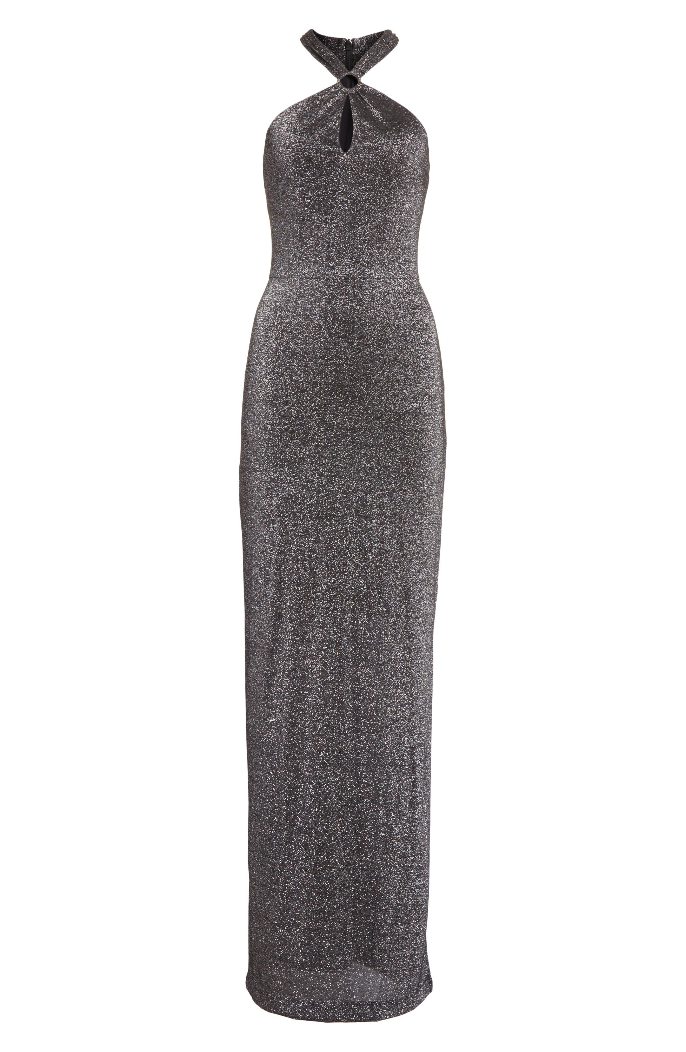 Metallic Knit Maxi Dress,                             Alternate thumbnail 6, color,                             Black