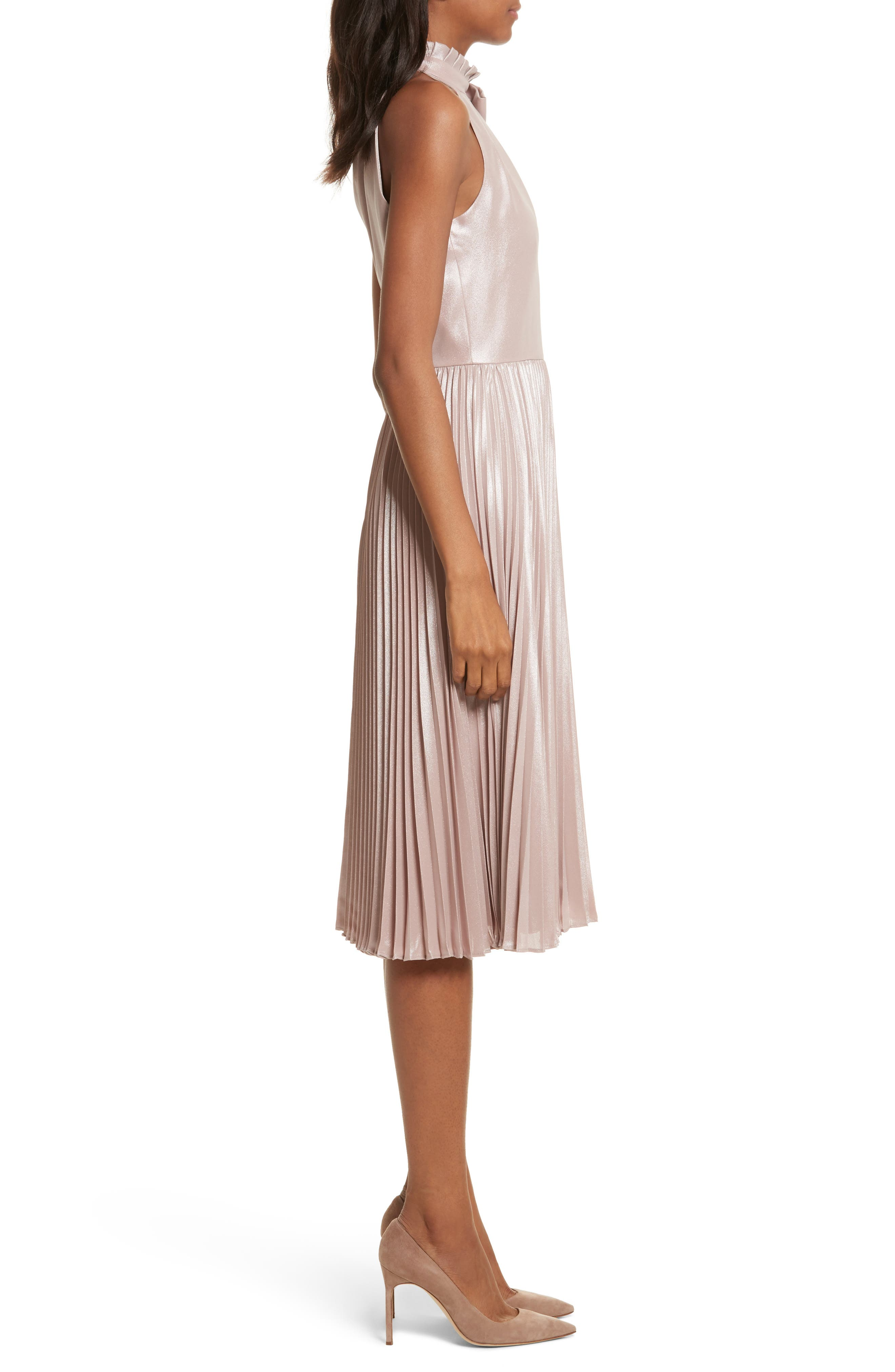 Bow Neck Fit & Flare Dress,                             Alternate thumbnail 3, color,                             Rose Gold