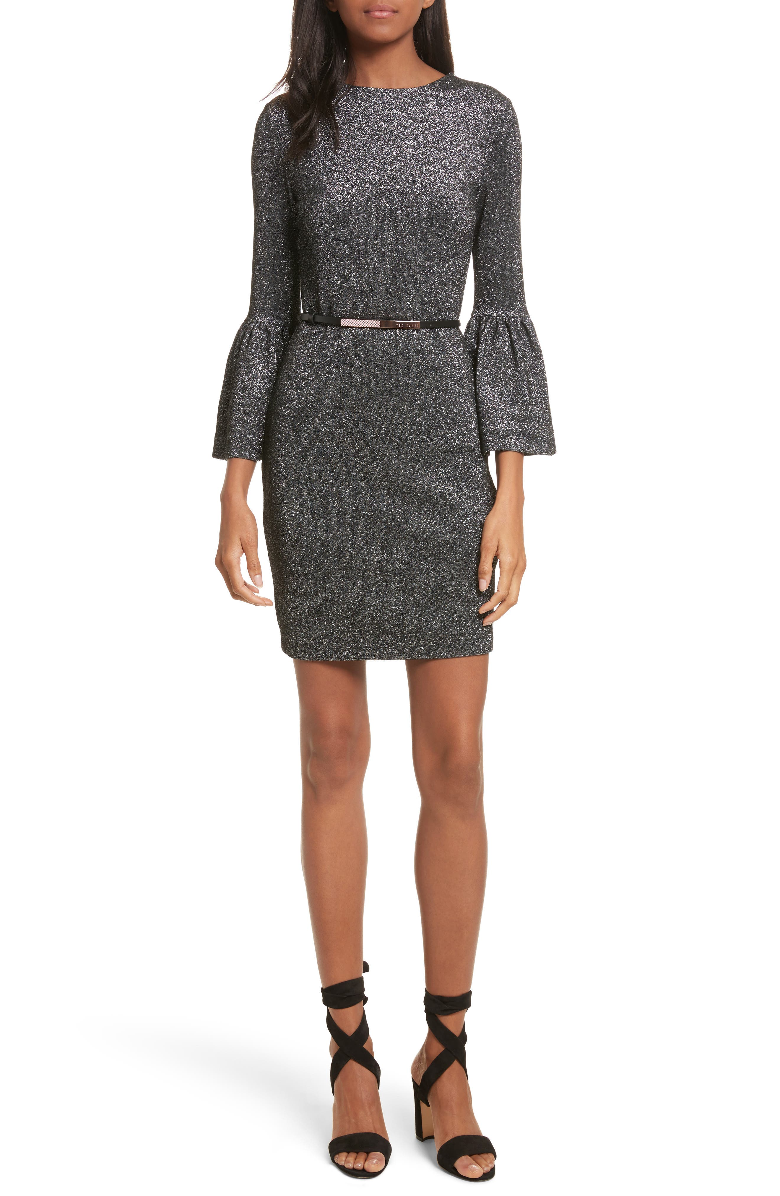 Bell Cuff Metallic Sheath Dress,                         Main,                         color, Black