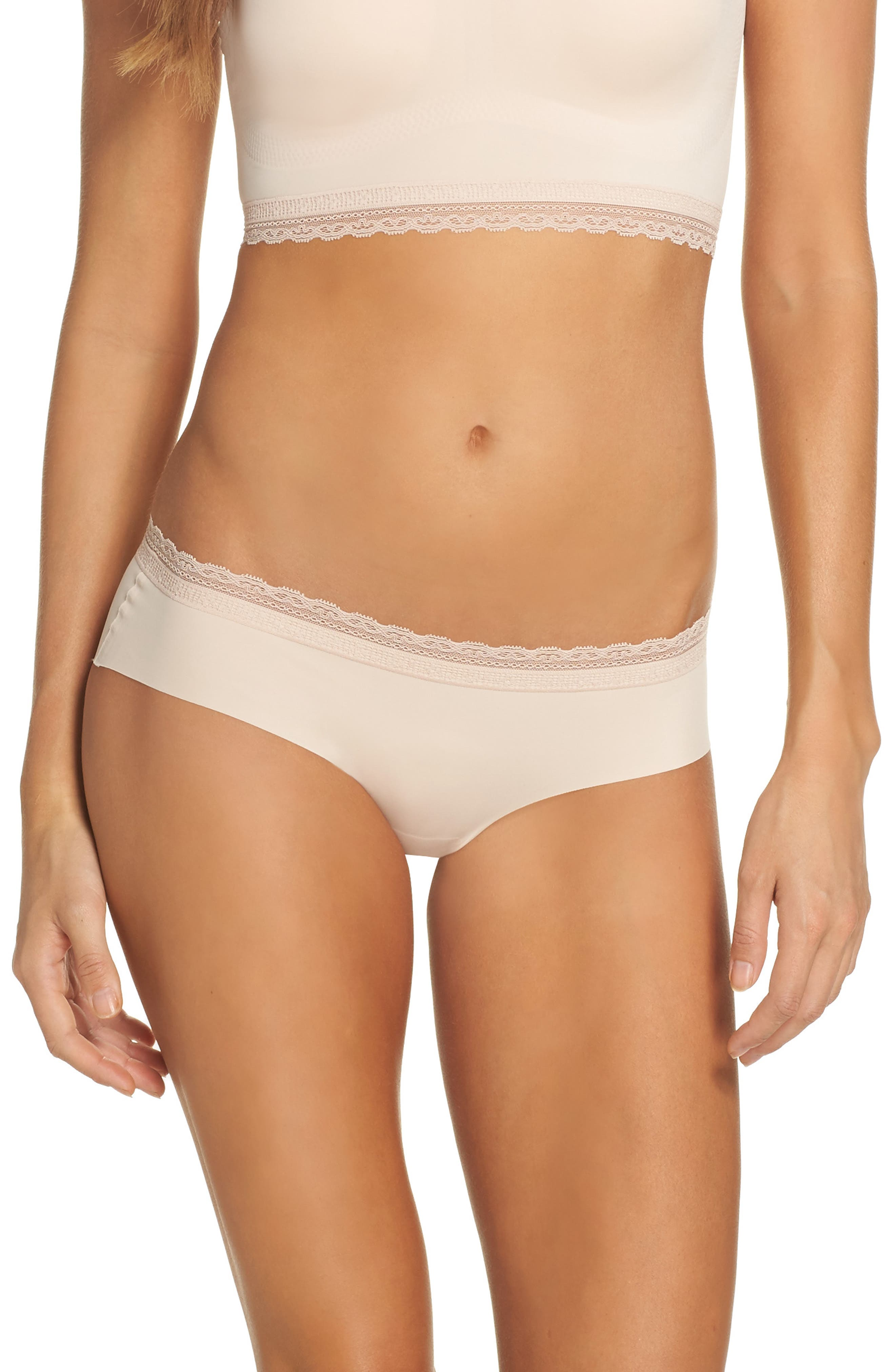 Almost Naked Lace Trim Hipster Briefs,                             Main thumbnail 1, color,                             Rose Dust