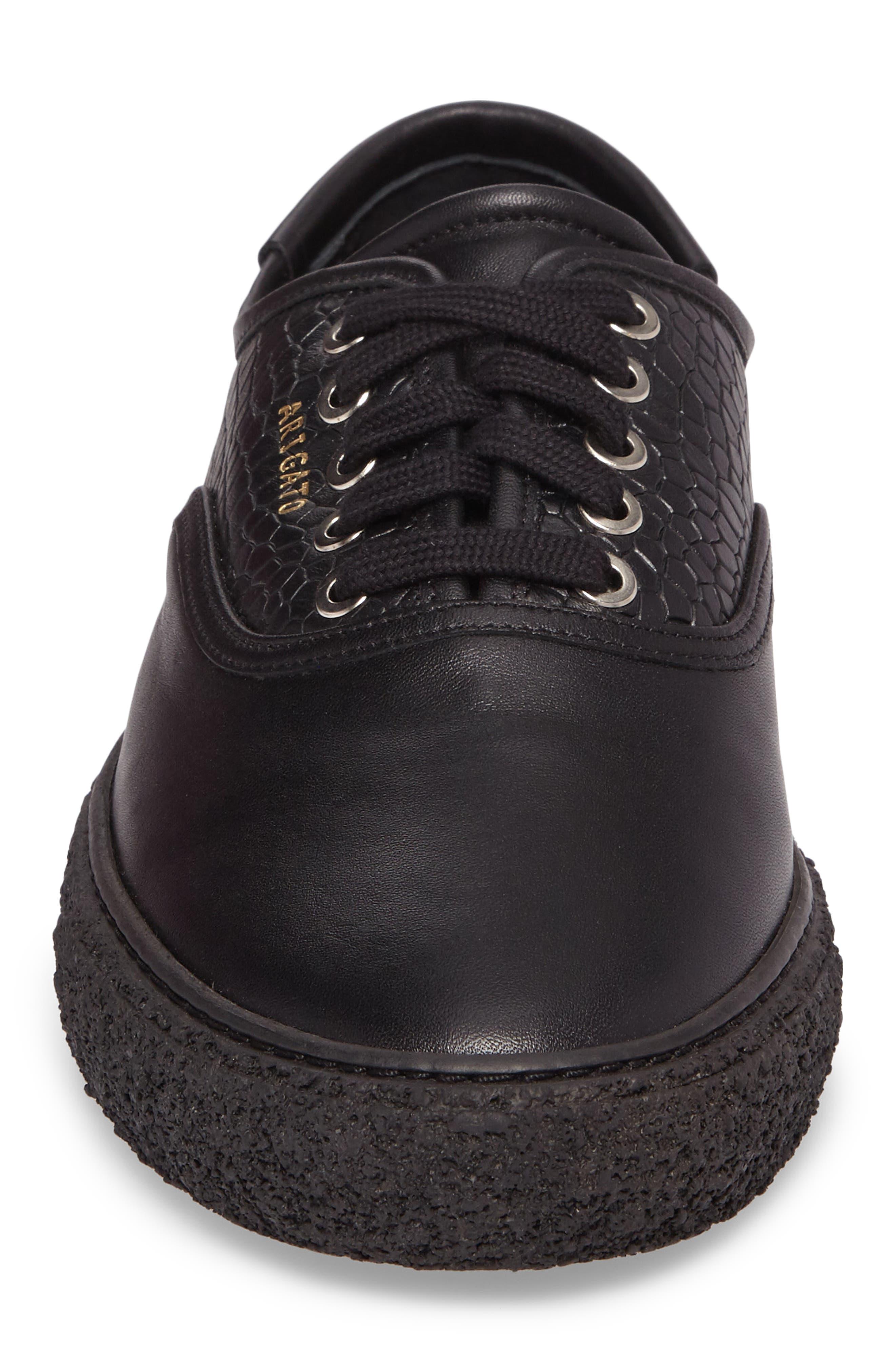 Skate Embossed Sneaker,                             Alternate thumbnail 4, color,                             Black Leather